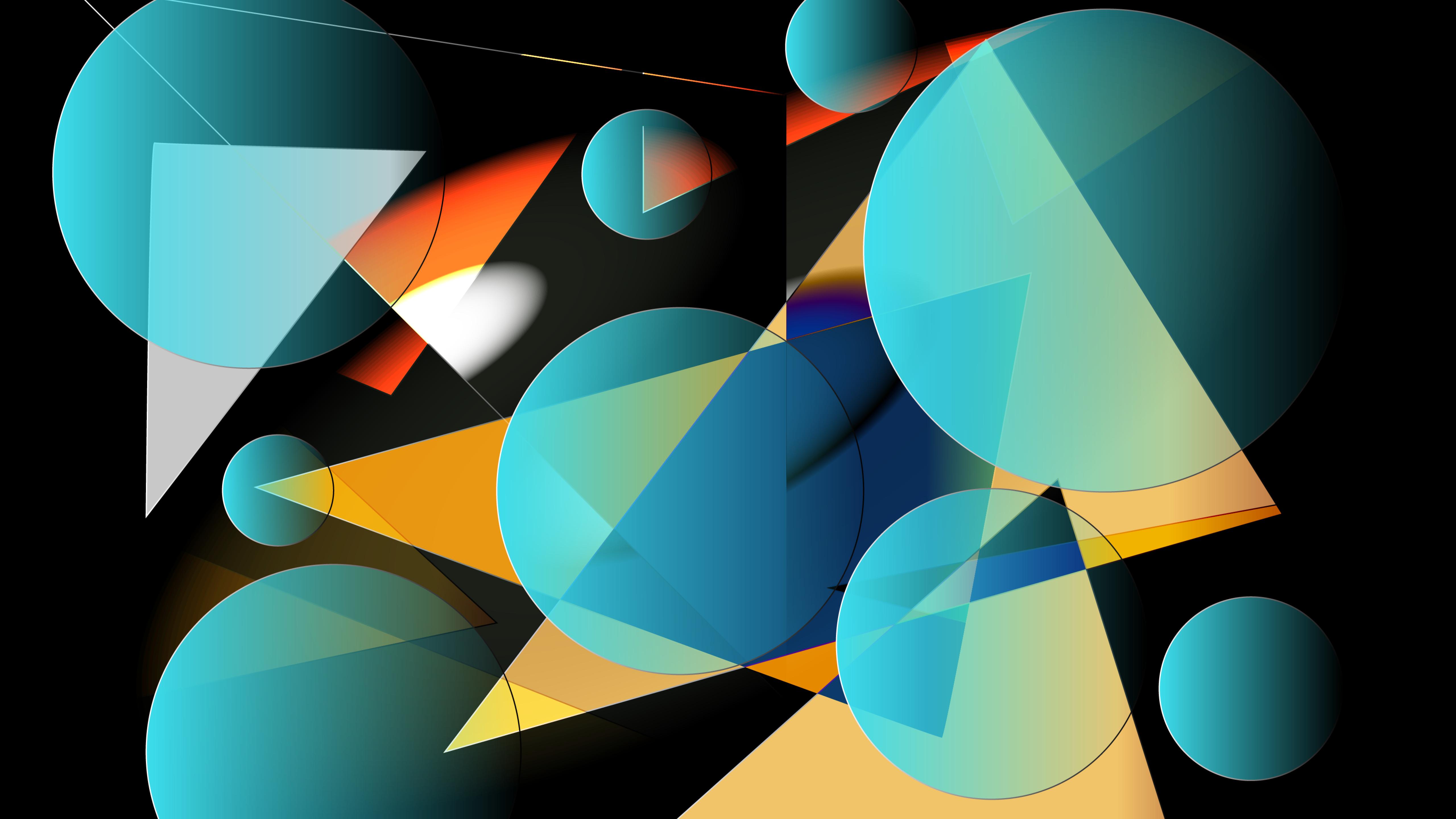5120x2880 Multiple Geometry Blue Shapes 5K Wallpaper, HD ...