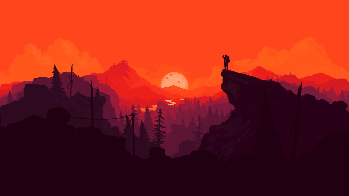 Nature sunset simple minimal illustration hd 4k wallpaper for Illustration minimaliste