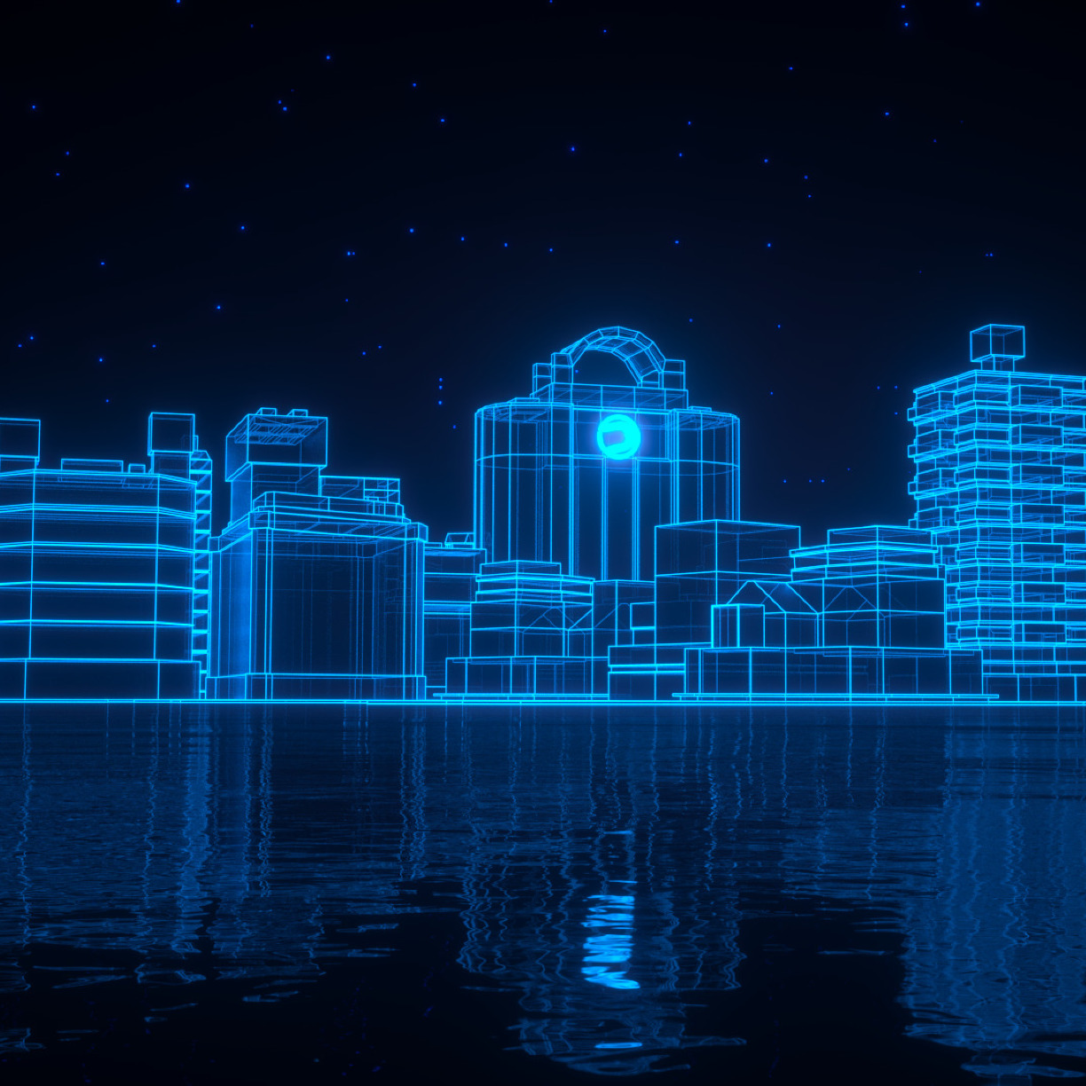 Neon blue light 3d architecture full hd wallpaper for Architecture 3d ipad