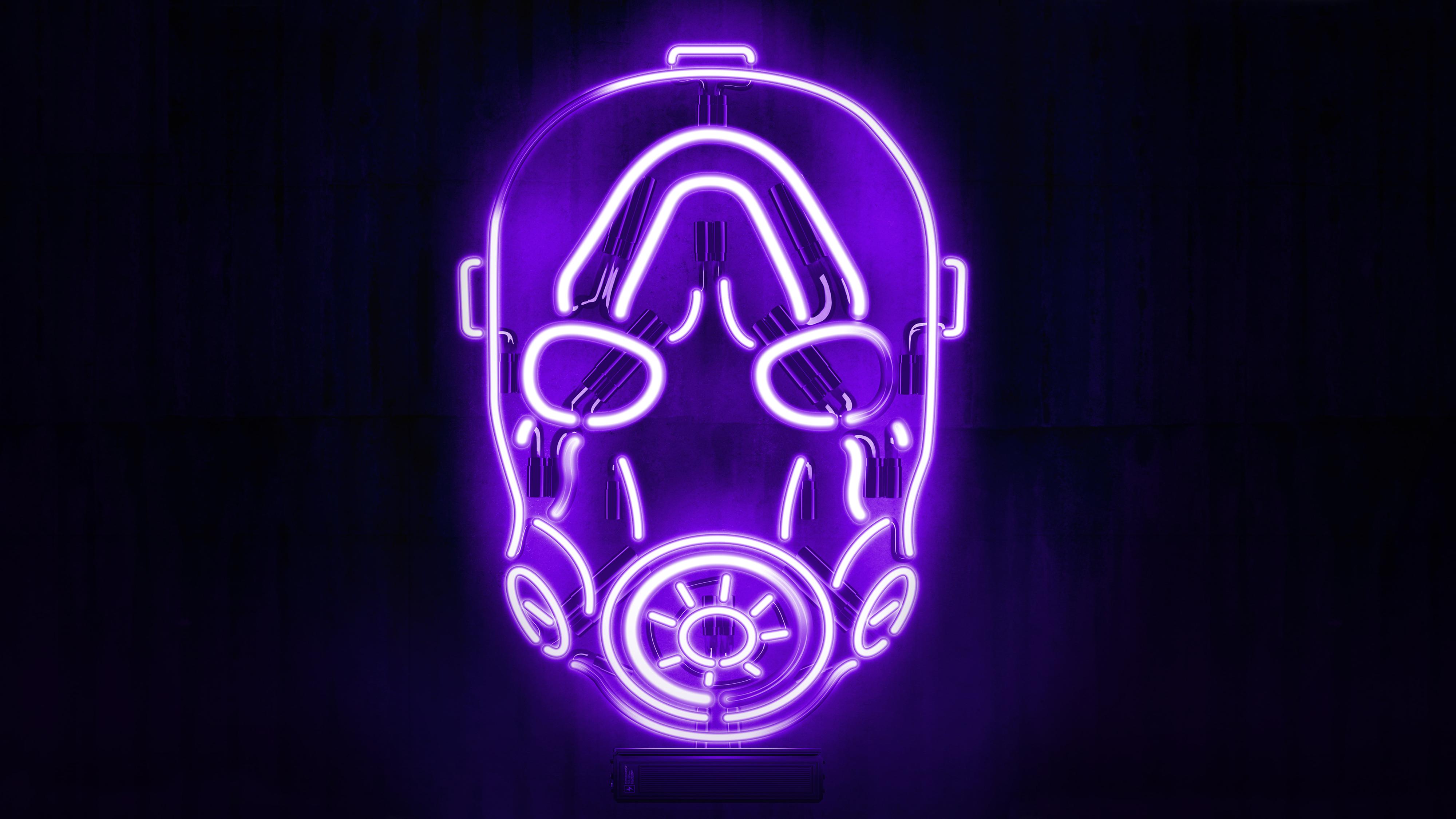 Neon Borderlands Mask Wallpaper Hd Games 4k Wallpapers