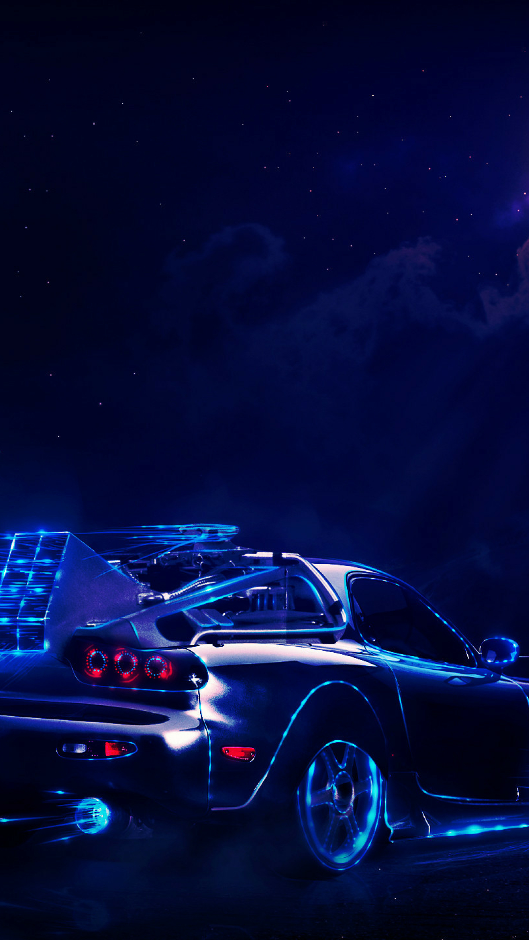 Neon Car Driving To The Moon Wolf, Full HD 2K Wallpaper