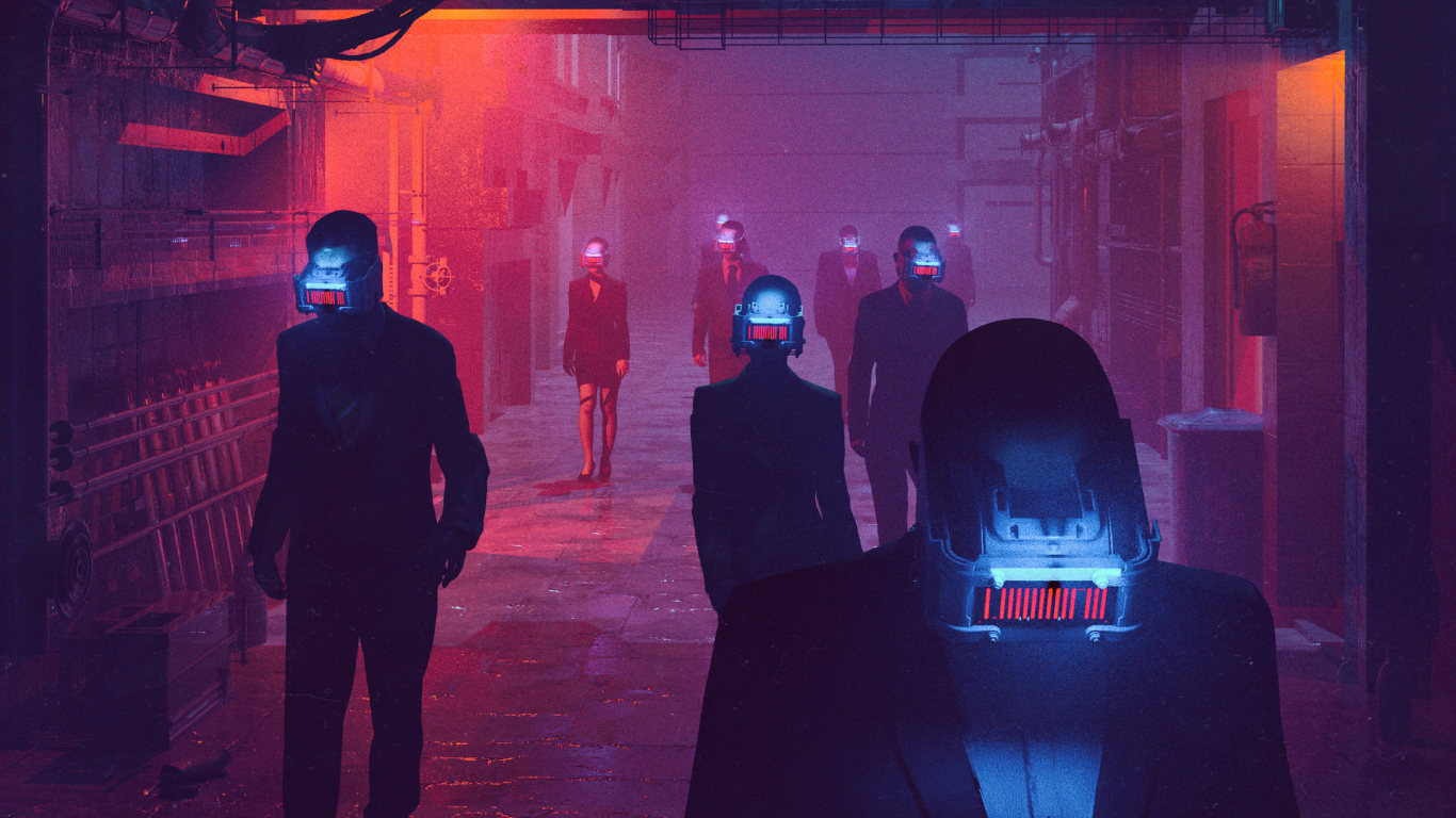 Neon City Cyberpunks Full Hd Wallpaper