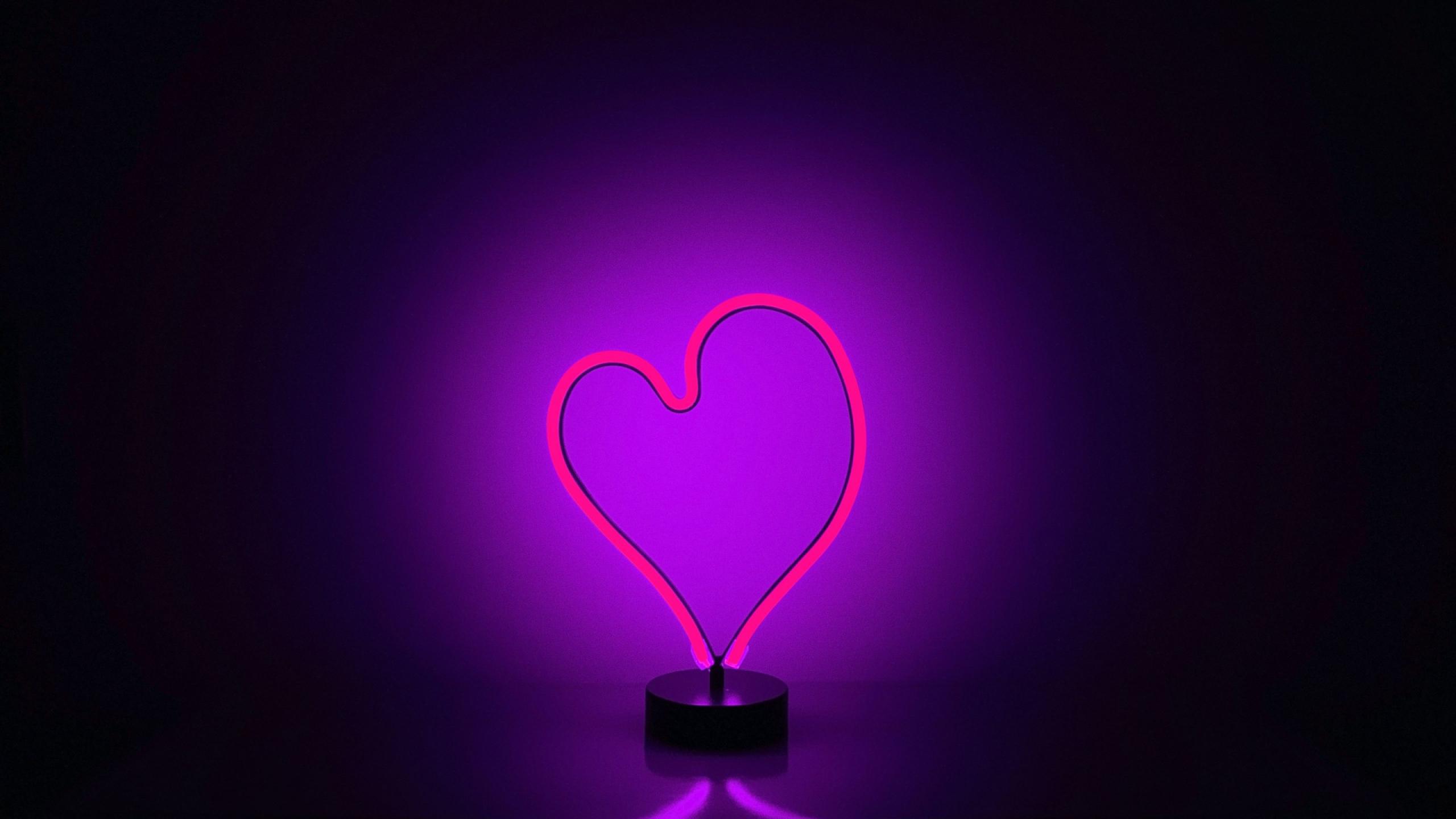 neon light heart full hd wallpaper