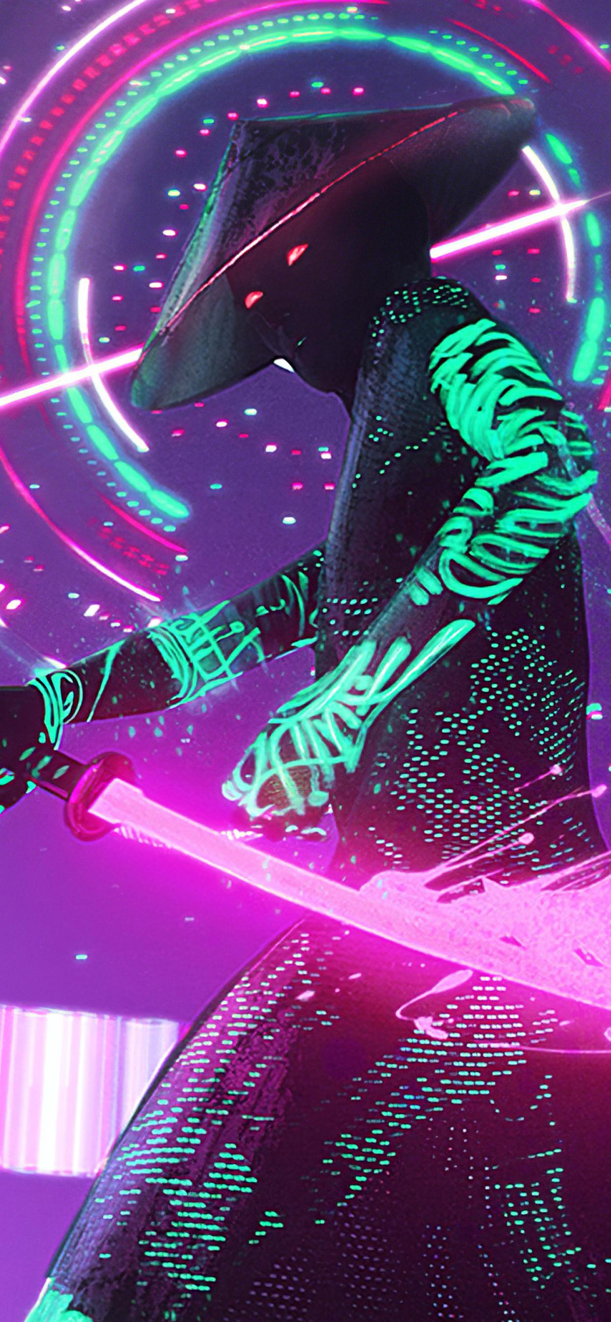 1242x2688 Neon Samurai Cyberpunk Iphone XS MAX Wallpaper ...