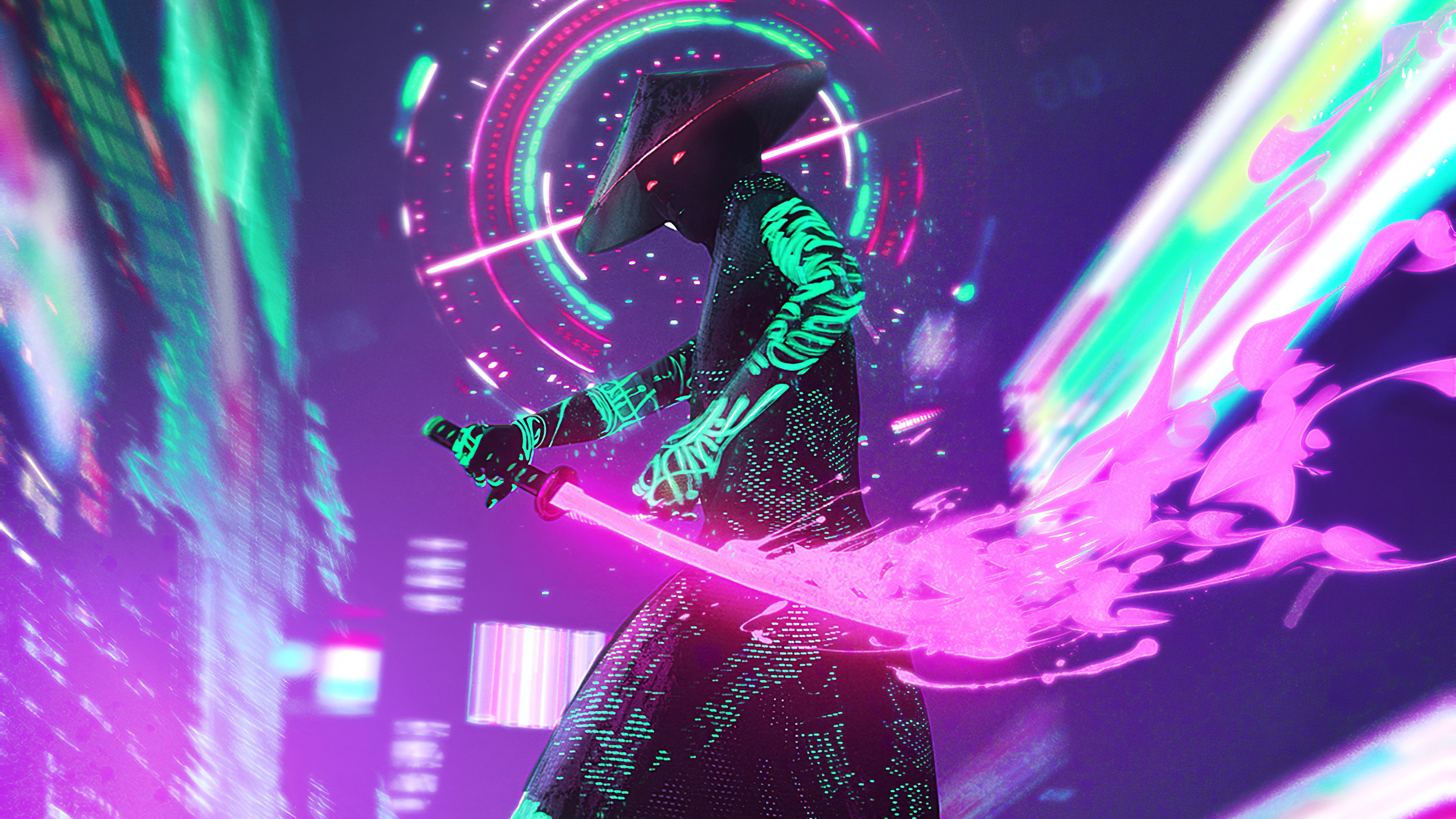 Neon Samurai Cyberpunk Wallpaper Hd Artist 4k Wallpapers Images Photos And Background