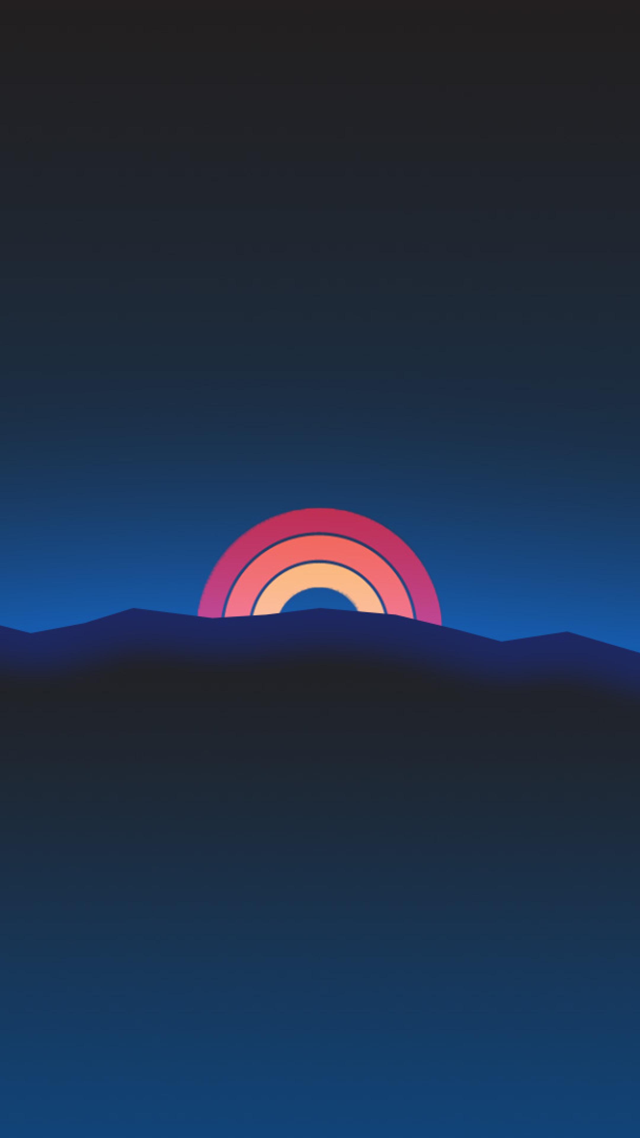 Neon Sunset Rainbow Minimal Retro Style Full Hd 2k Wallpaper