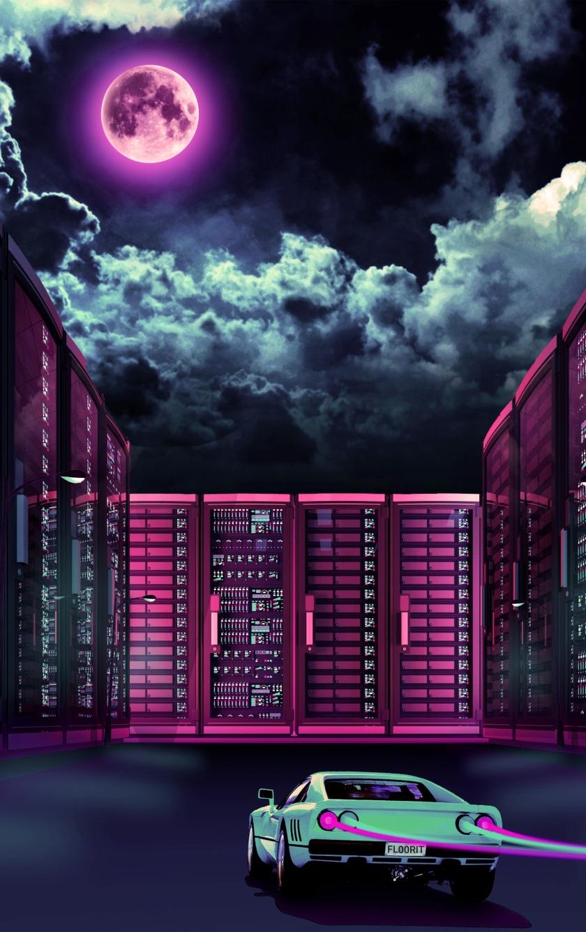 Neon Synthwave Futuristic City, HD 4K Wallpaper