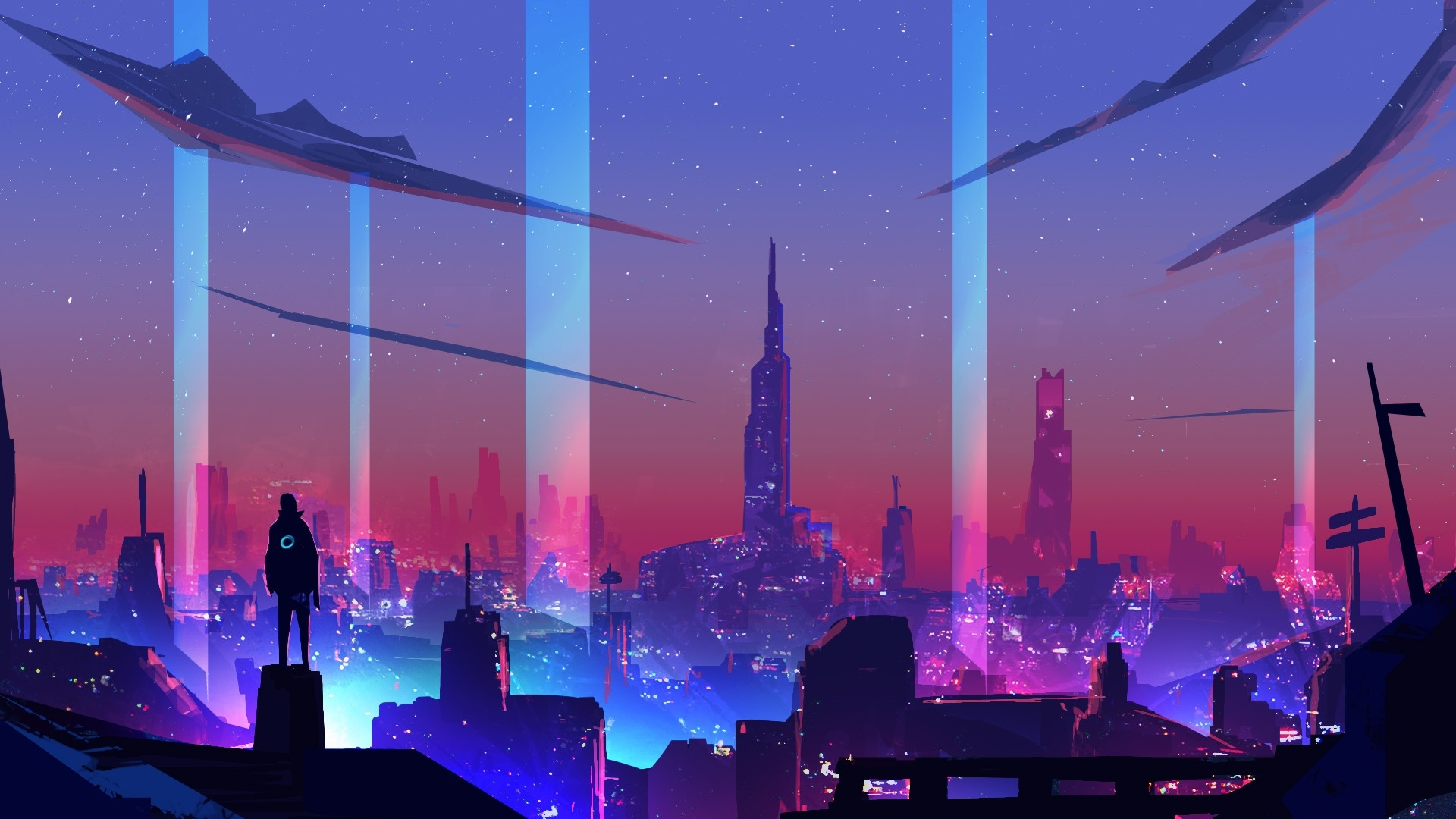 3840x2160 Neon Wave Futuristic City 4K