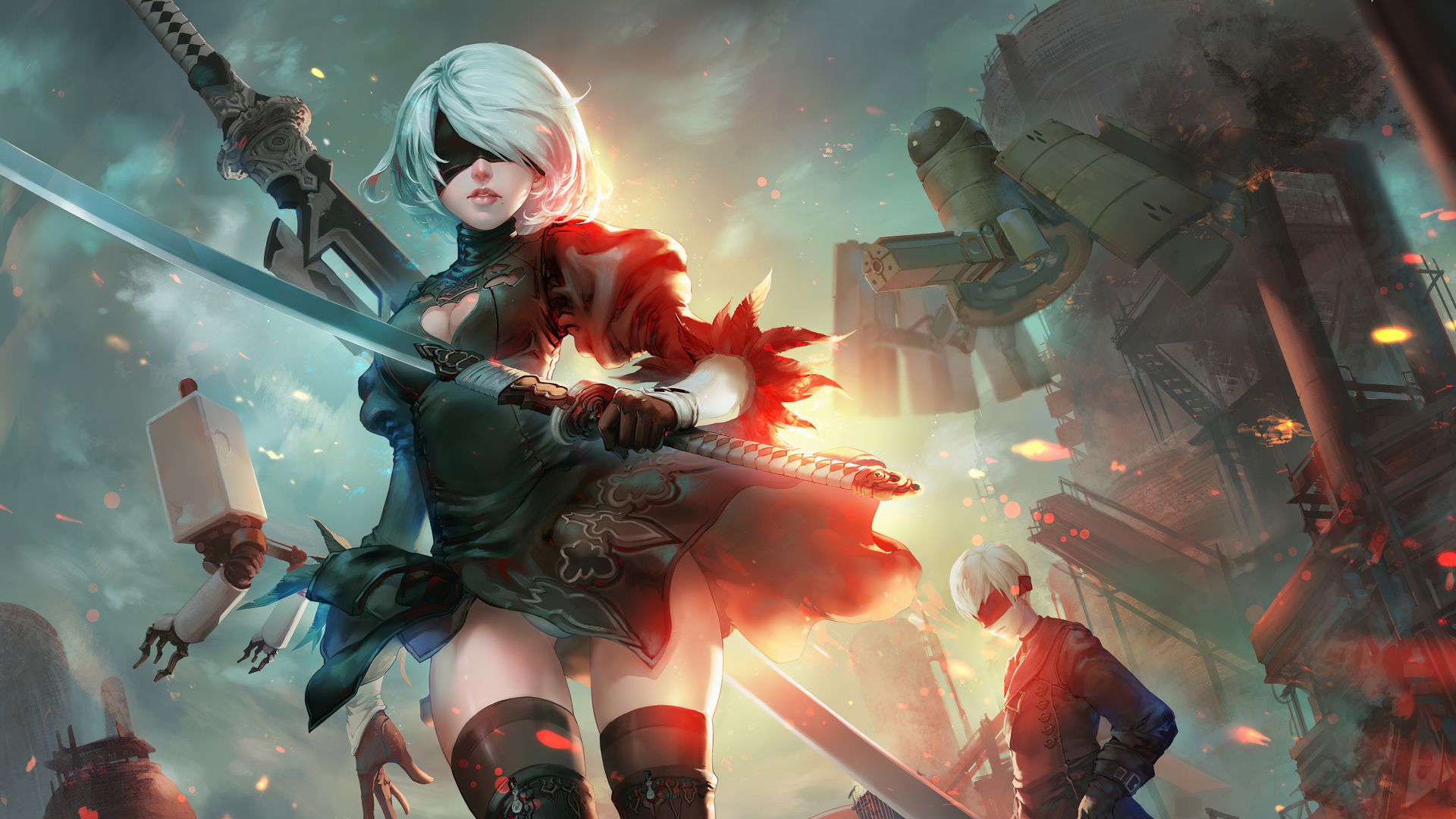 1920x1080 New Nier Automata Art 1080p Laptop Full Hd Wallpaper Hd Games 4k Wallpapers Images Photos And Background