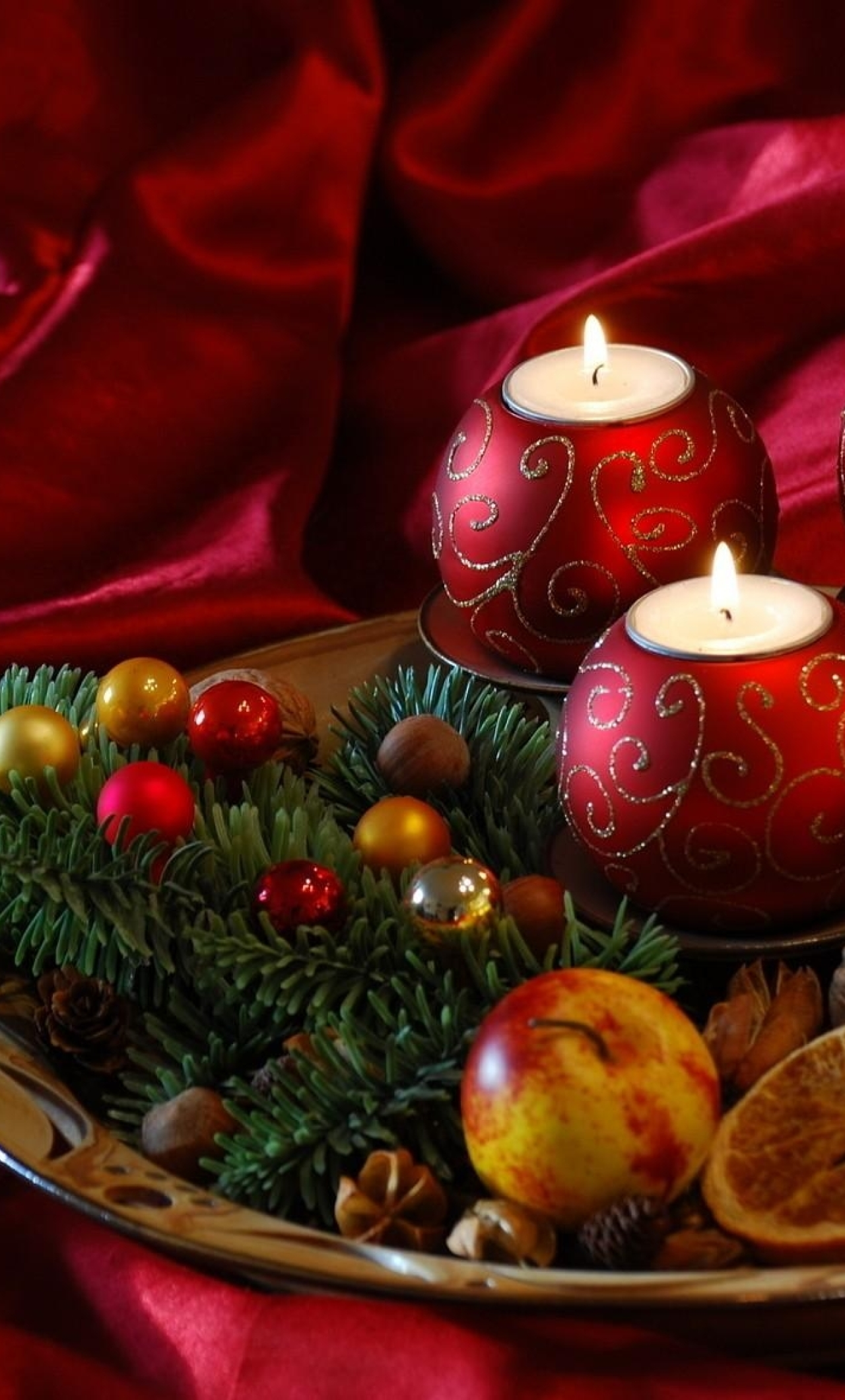 Download New Year Christmas Candles 540x960 Resolution