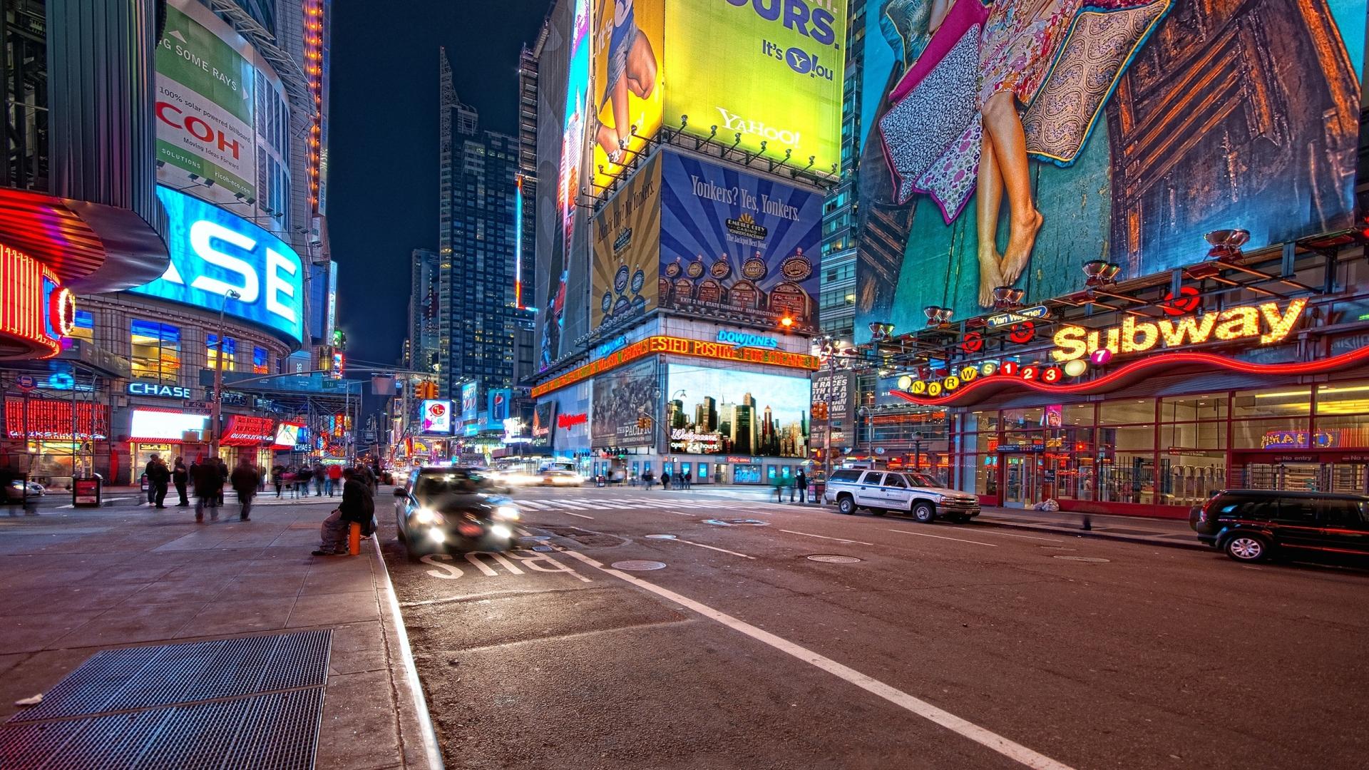 Download New York Night Street 1920x1080 Resolution Full HD 2K