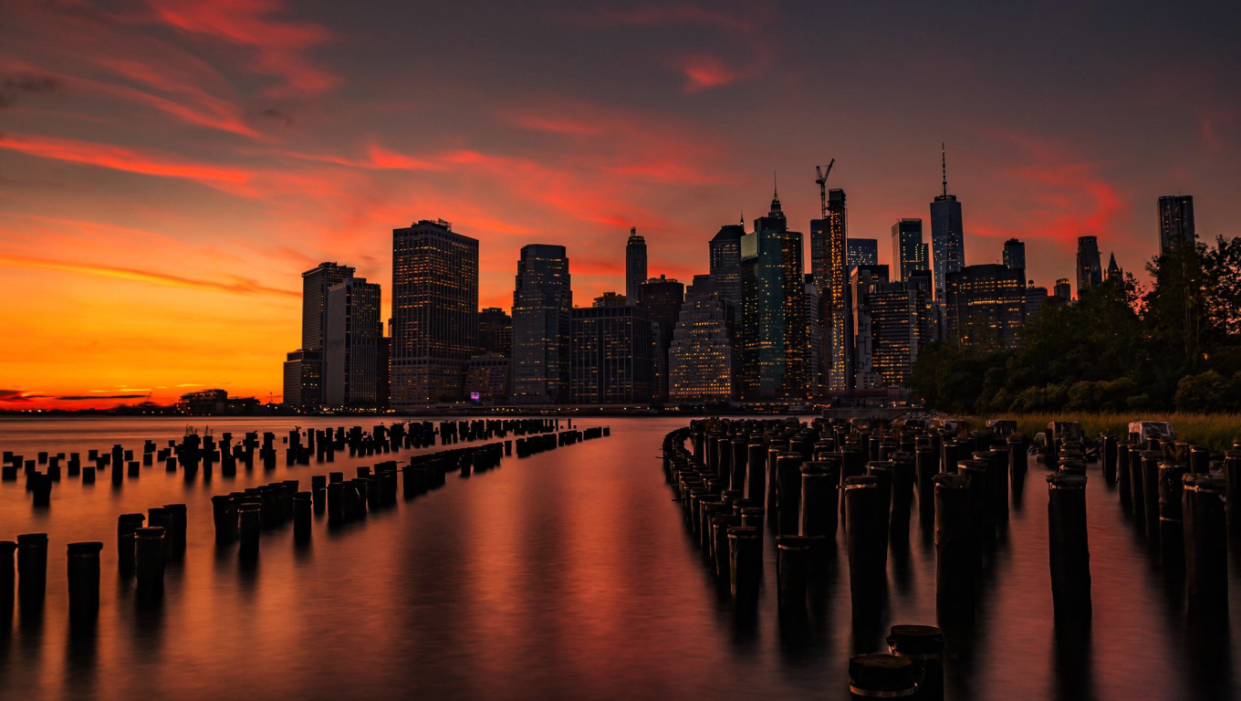1360x768 New York Sunset Desktop Laptop Hd Wallpaper Hd Nature 4k Wallpapers Images Photos And Background
