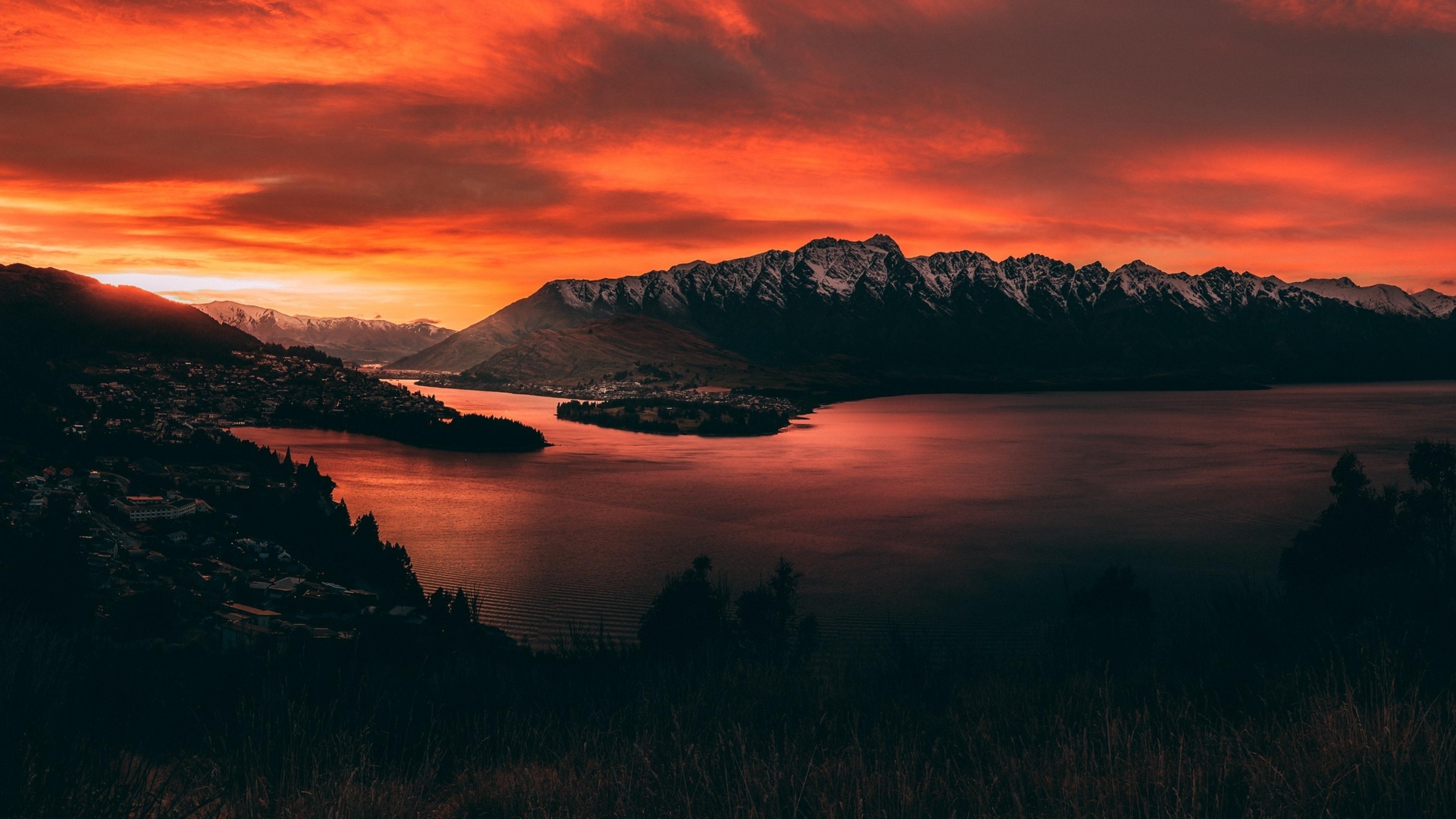 3840x2160 New Zealand Orange Mountain Sunset 4K Wallpaper ...