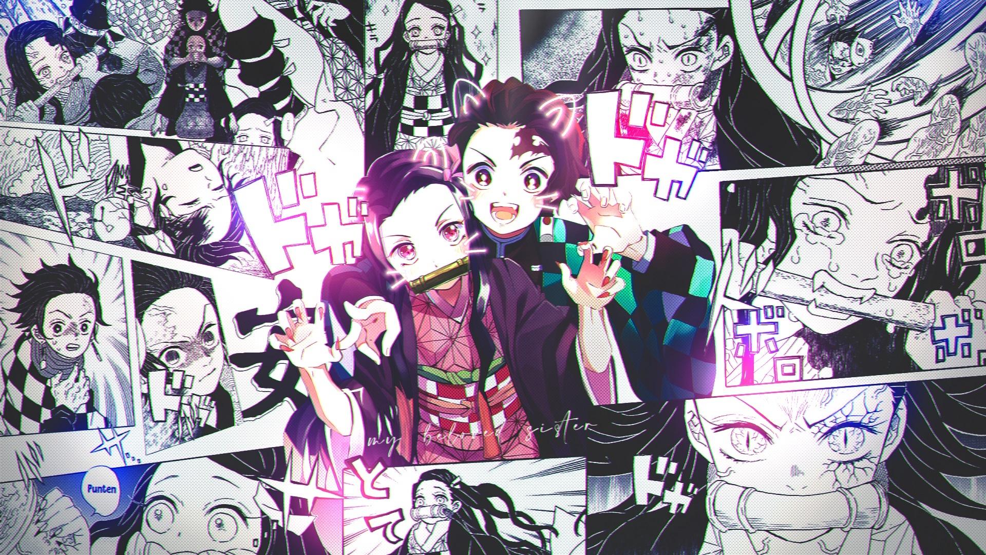 Nezuko and Tanjirou Manga Wallpaper, HD Anime 4K ...