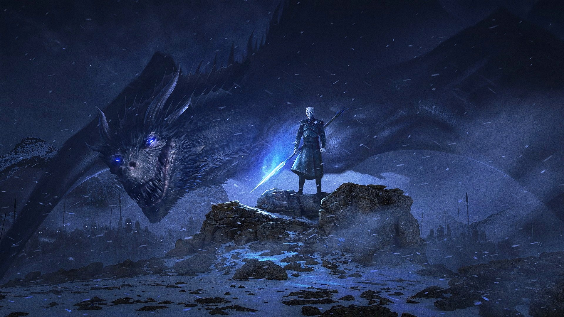 1360x768 Night King And Dragon Desktop Laptop Hd Wallpaper