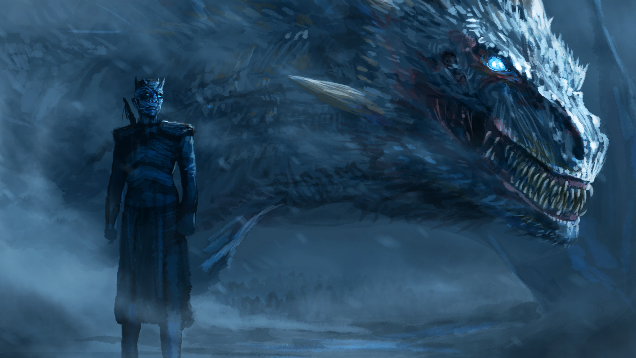 Night King Blue Eyes White Dragon, HD 4K Wallpaper