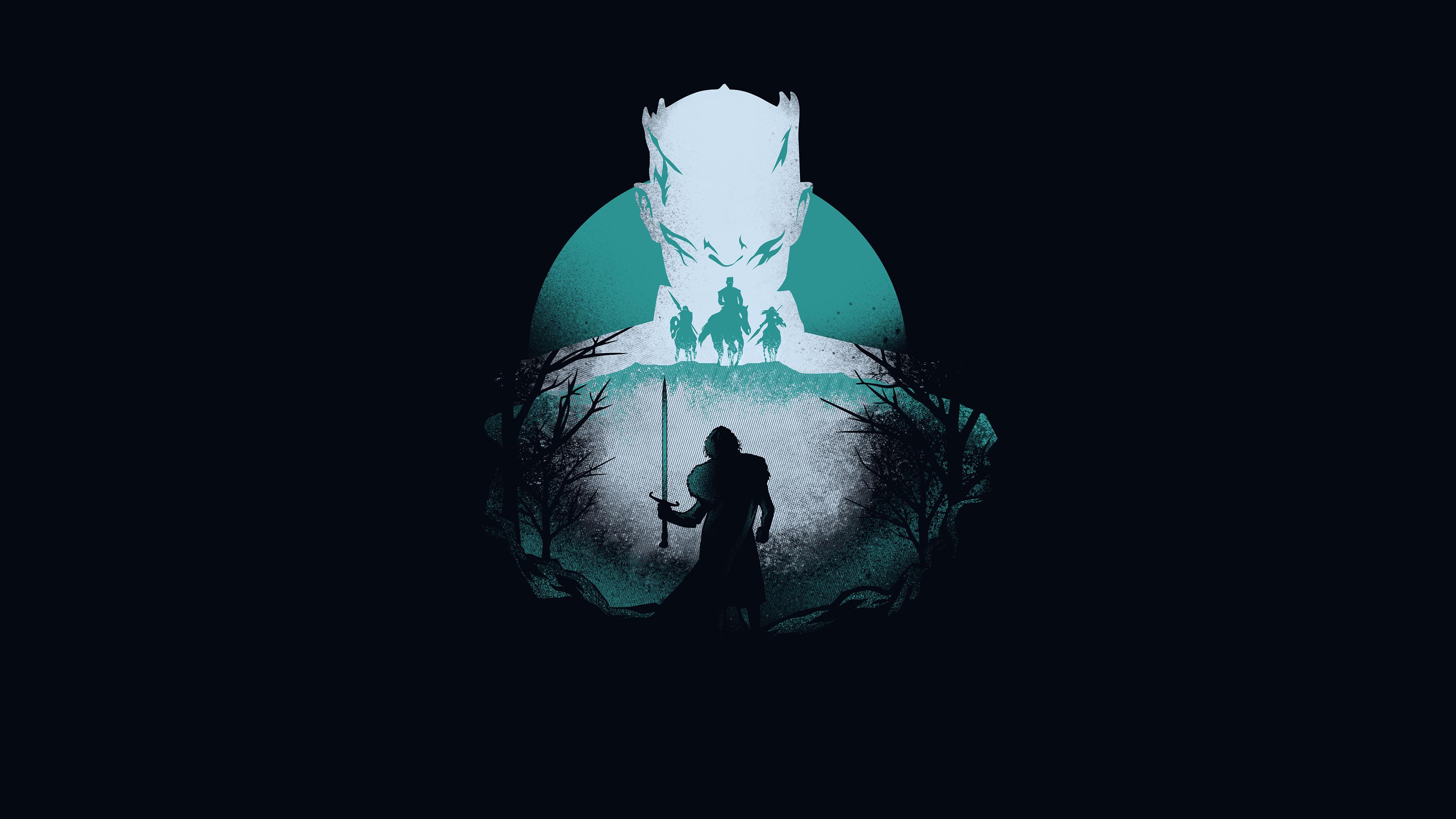 Night King Vs Wolf Game Of Thrones 8 Artwork Wallpaper Hd Tv