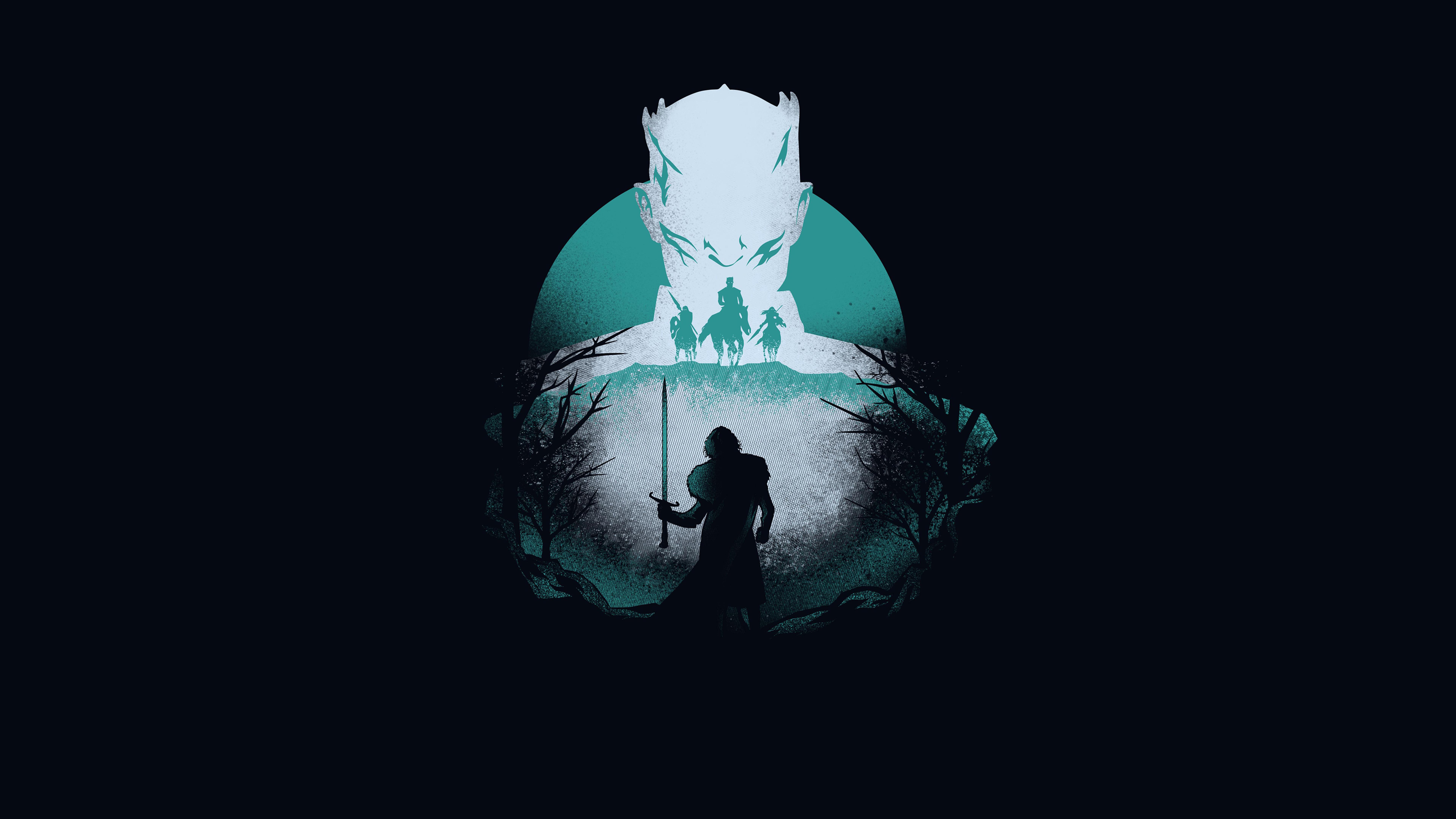 7680x4320 Night King Vs Wolf Game Of Thrones 8 Artwork 8k