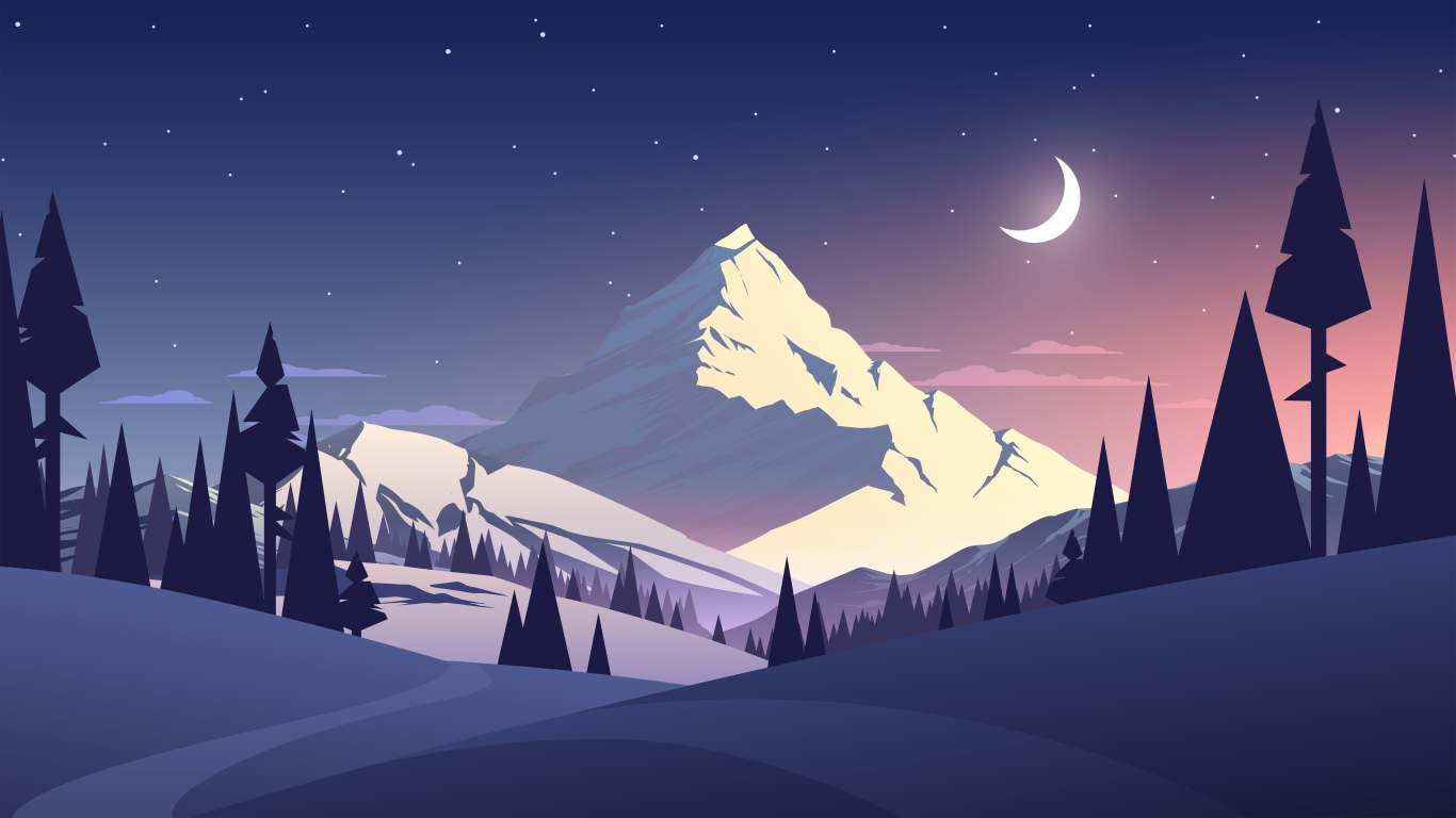 Mountains Summer Illustration 1366x768