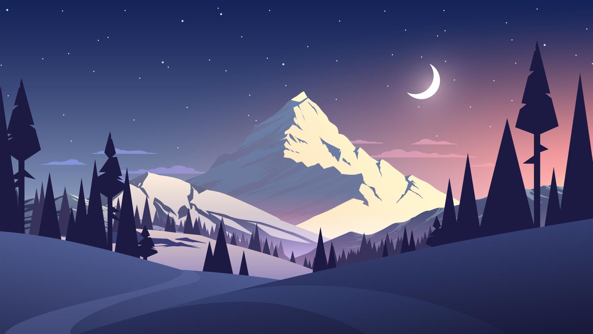 1920x1080 Night Mountains Summer Illustration 1080p Laptop Full Hd