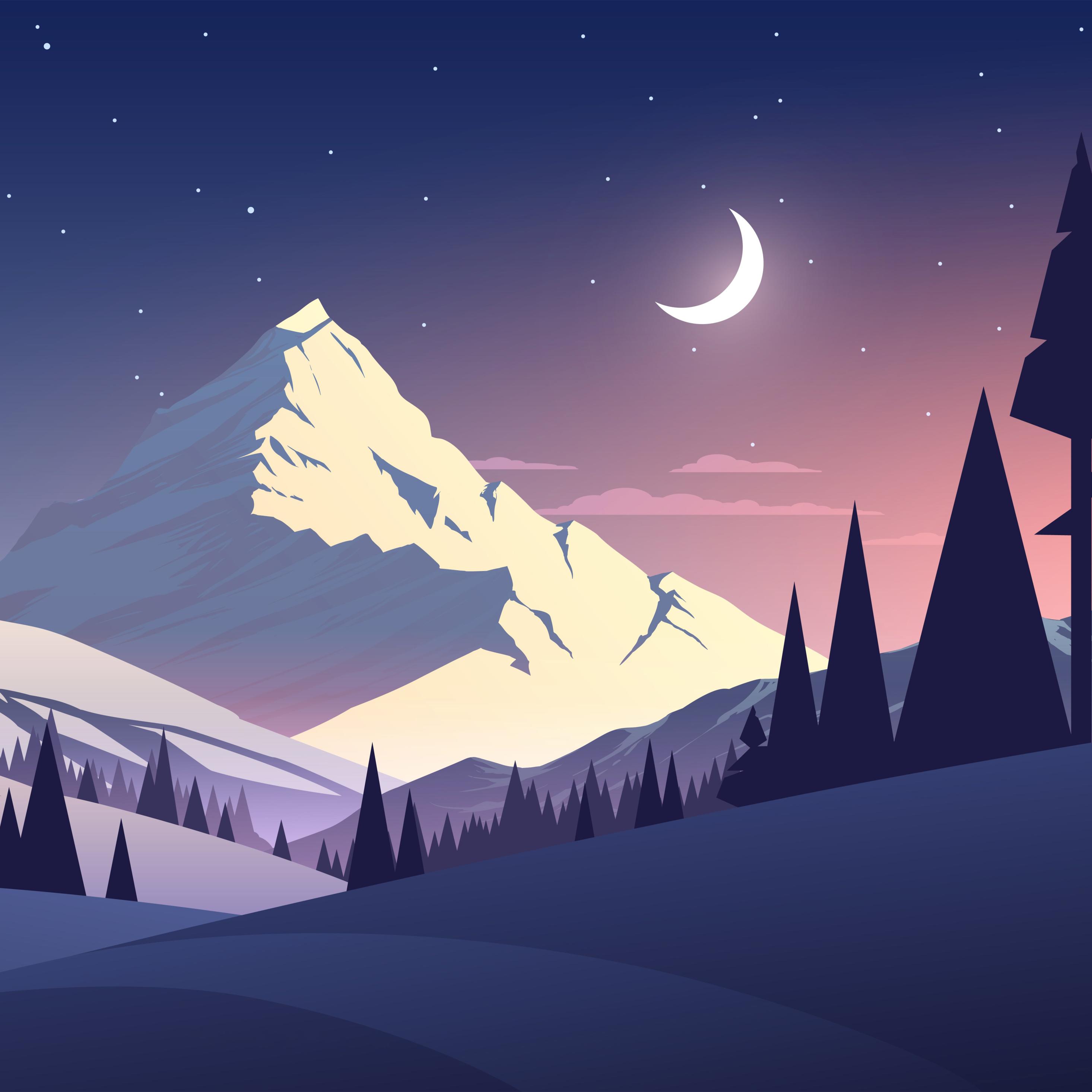 2932x2932 Night Mountains Summer Illustration Ipad Pro