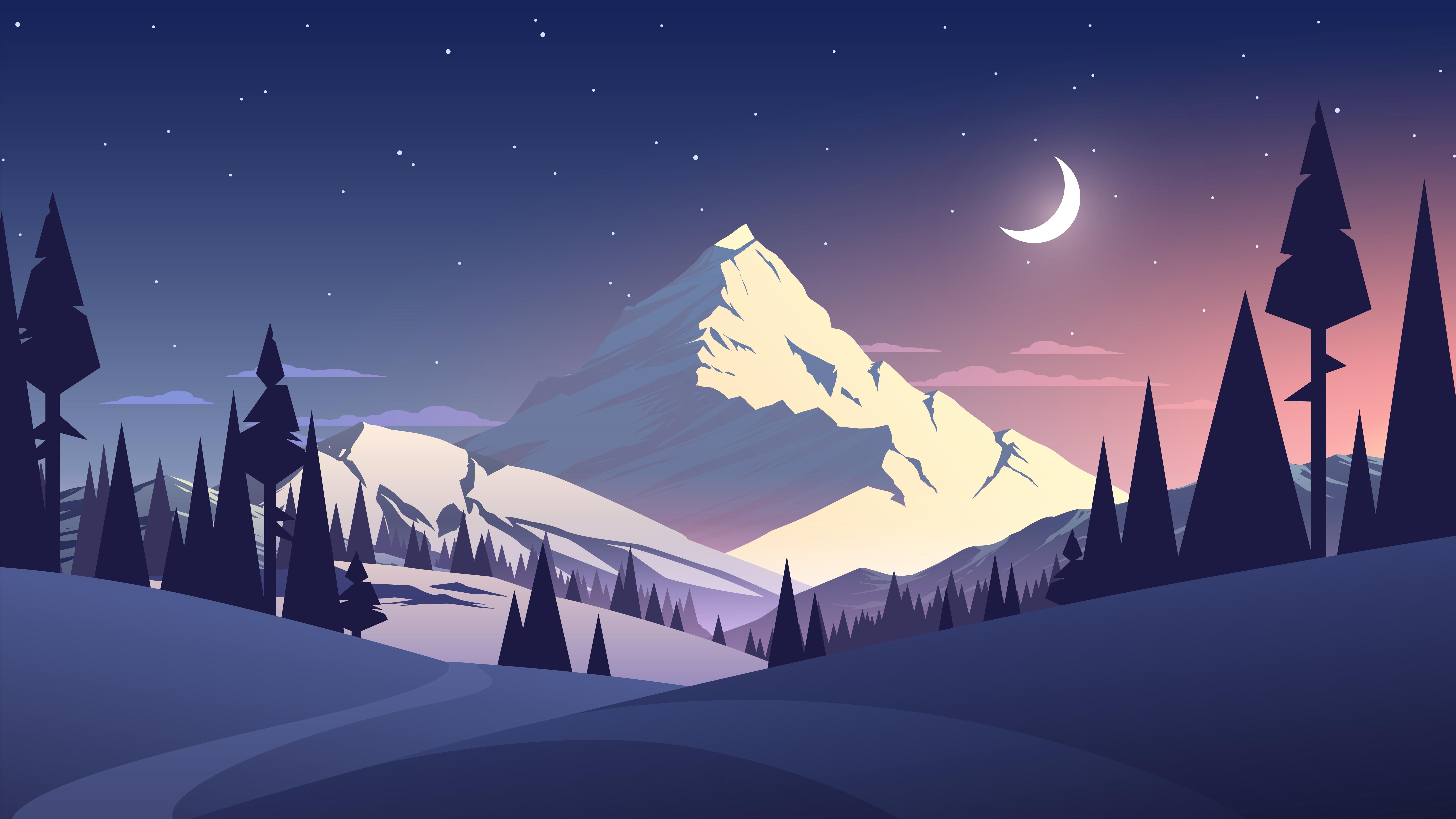 Night Mountains Summer Illustration Wallpaper Hd Artist 4k