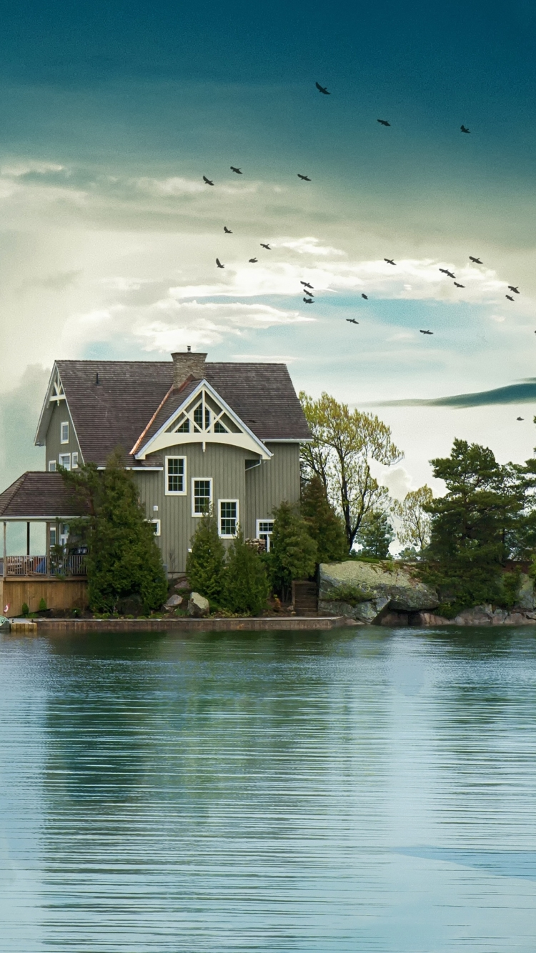 Ocean Beach House 4K Wallpaper in 750x1334 Resolution