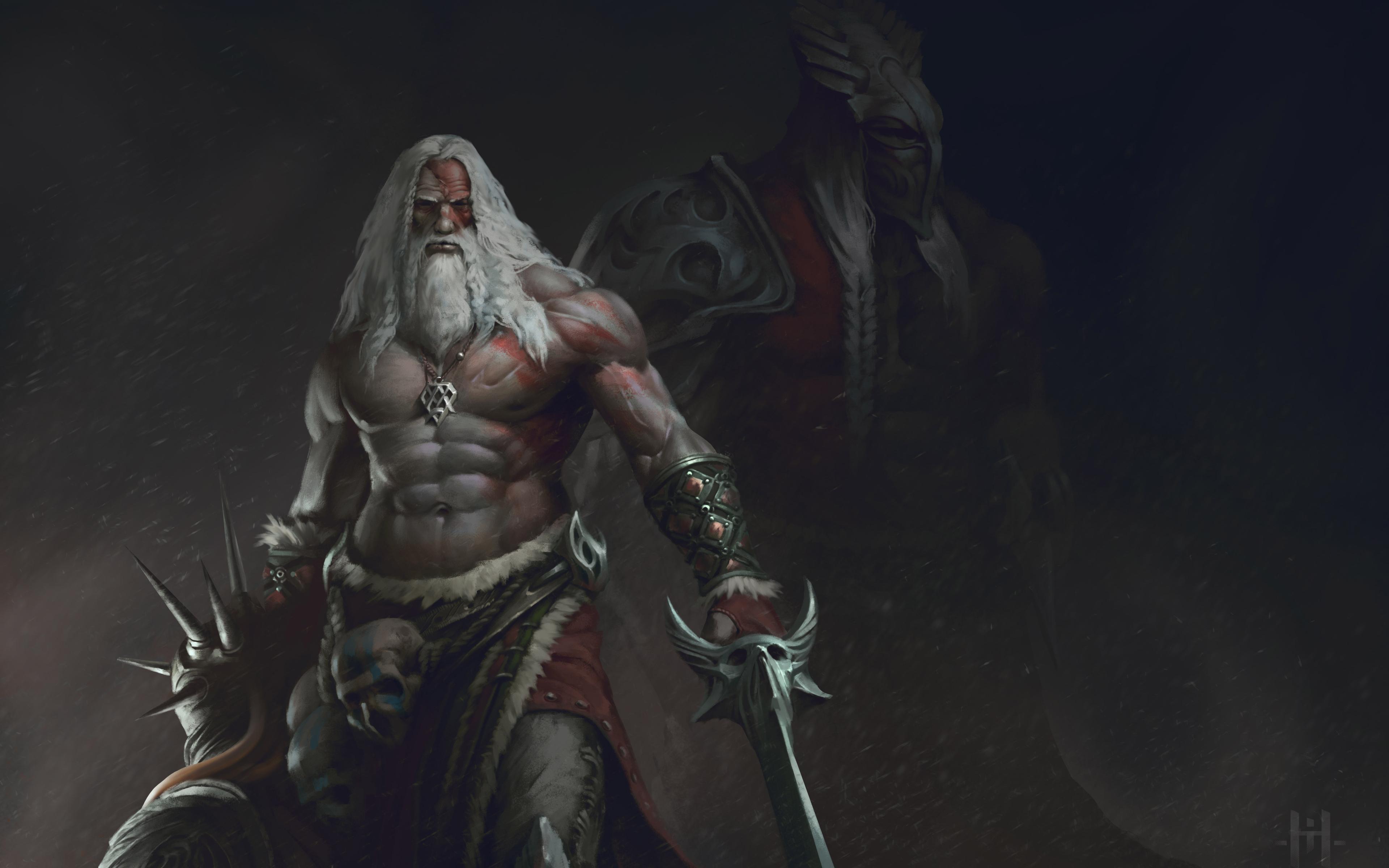 old beard man with sword warrior hd 8k wallpaper