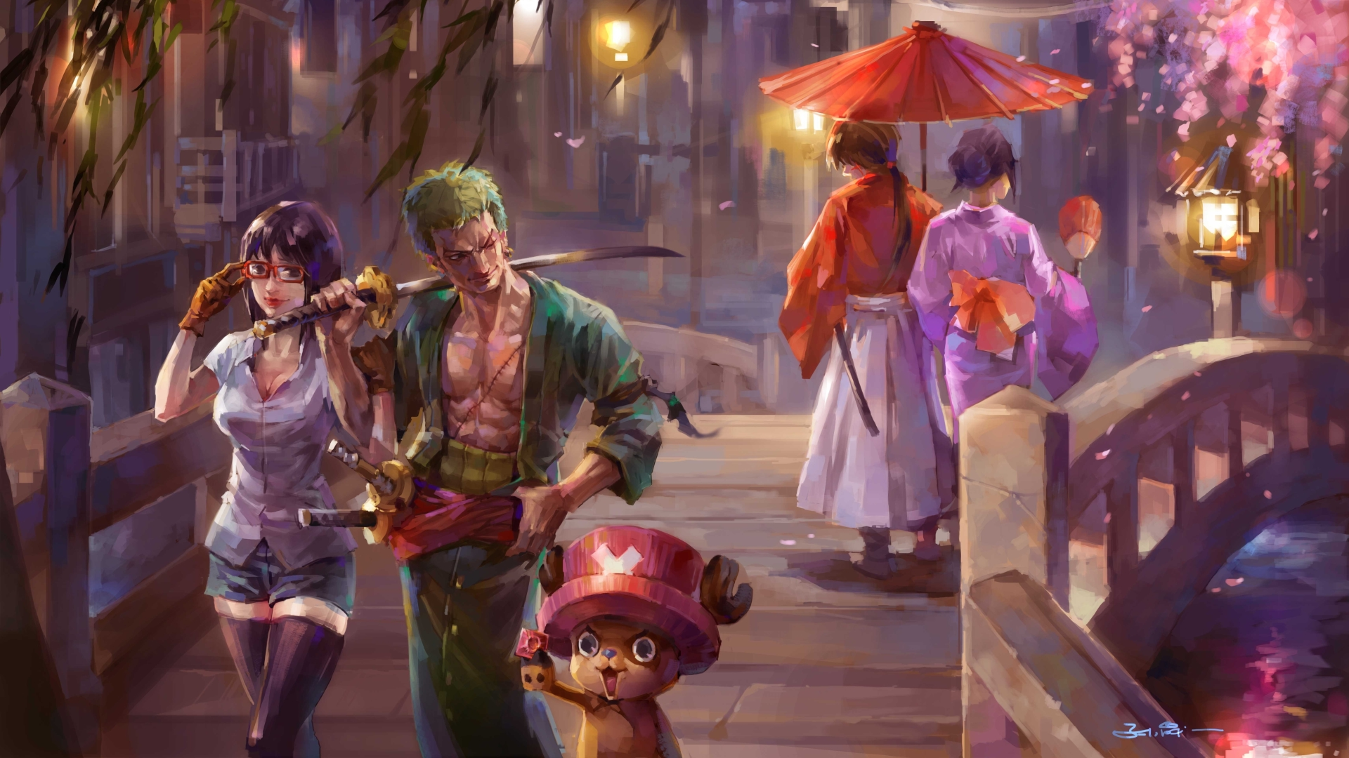 1920x1080 One Piece Painting 1080p Laptop Full Hd Wallpaper