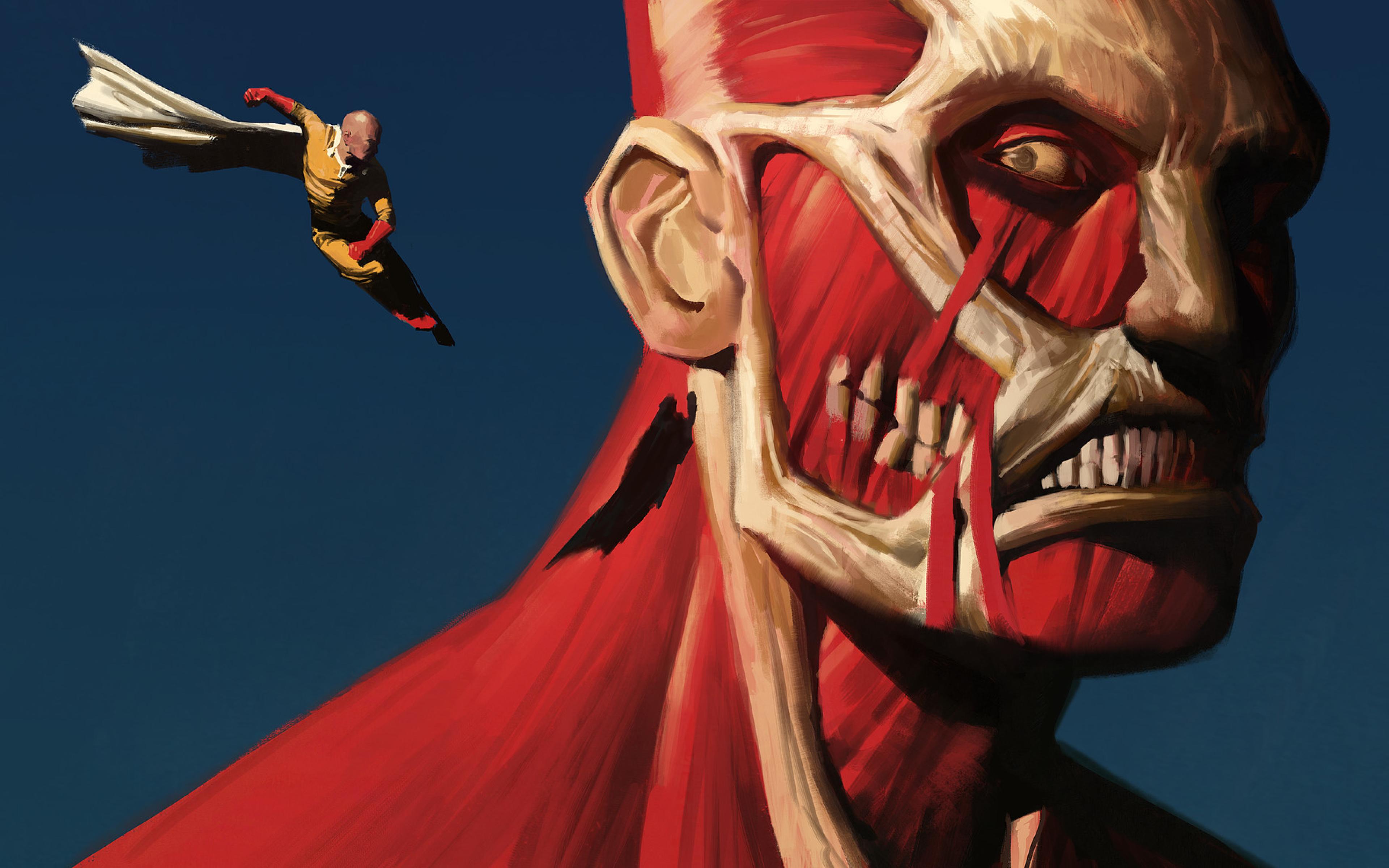 Download One Punch Man Shingeki No Kyojin Saitama 320x480 Resolution