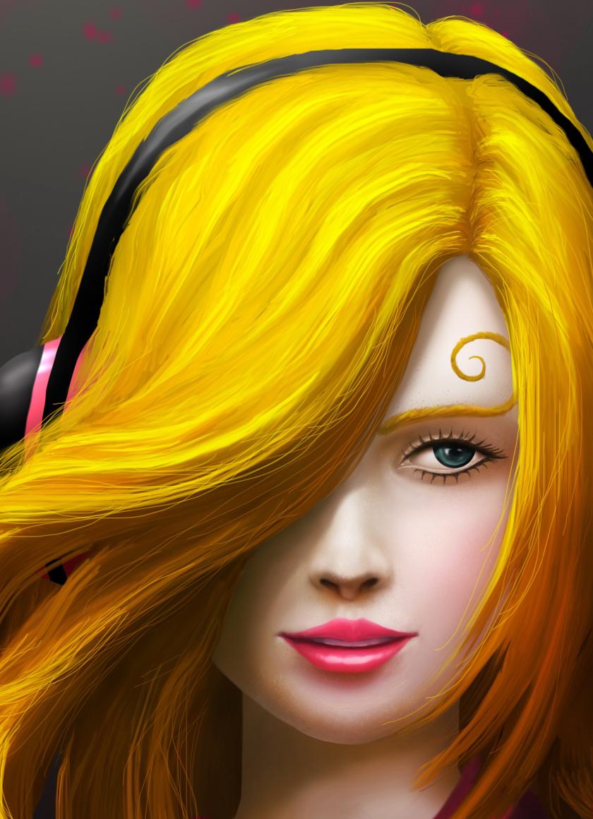 Download Painting Art Girl Headphones 1024x600 Resolution