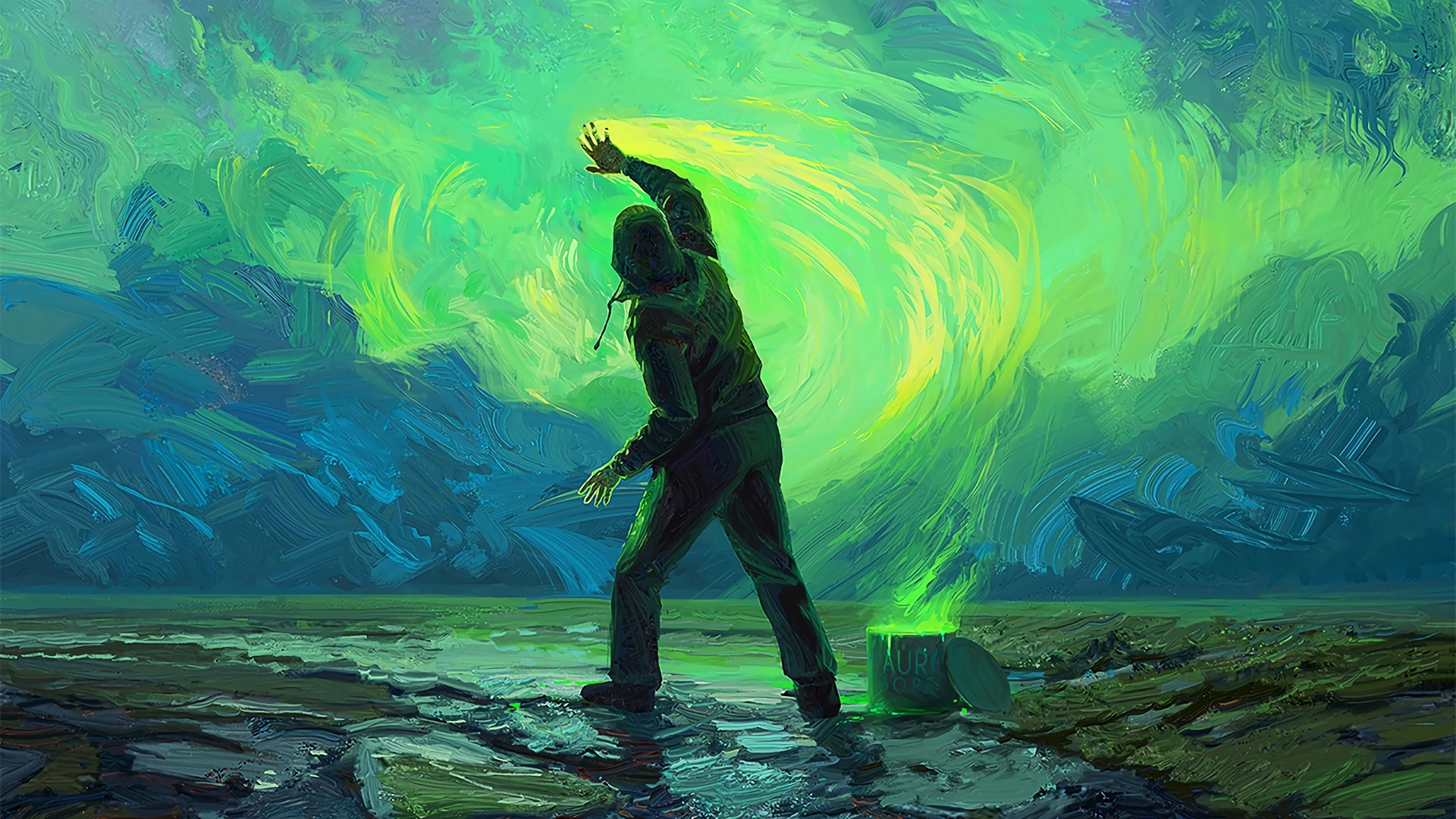 2560x1080 Painting Sky Green Art ...