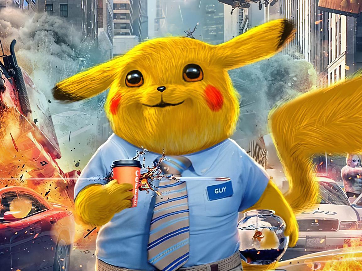 1152x864 Pikachu as Free Guy Art 4K 1152x864 Resolution ...