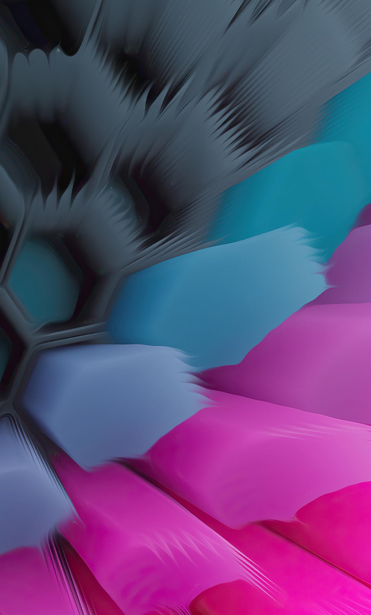 Pink Blue 4K Hexagon Wallpaper in 1280x2120 Resolution