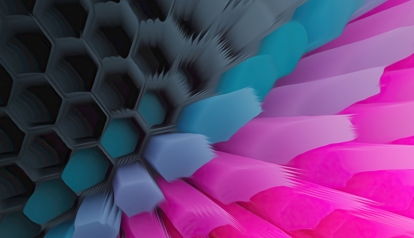 Pink Blue 4K Hexagon Wallpaper in 1336x768 Resolution