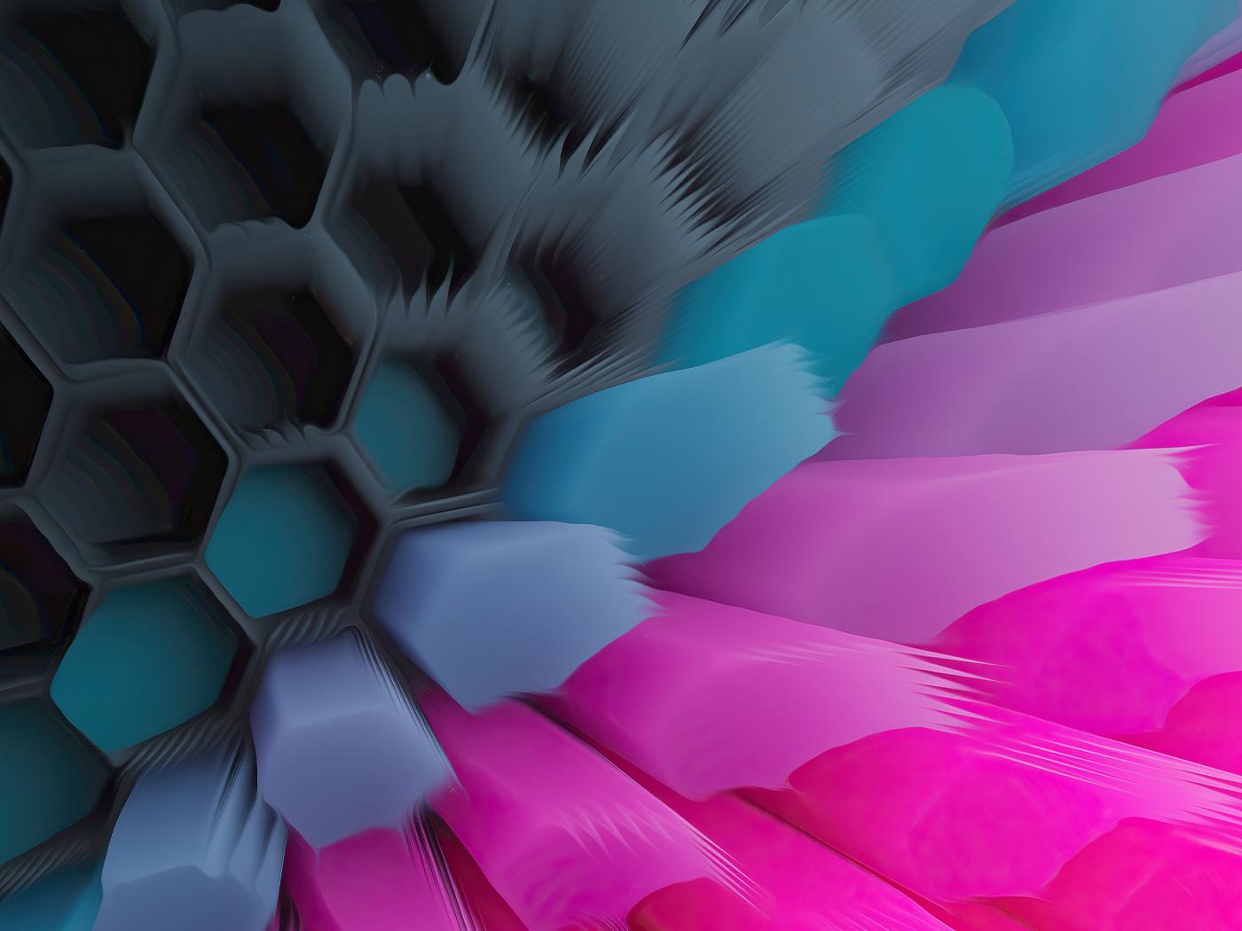 Pink Blue 4K Hexagon Wallpaper in 1400x1050 Resolution