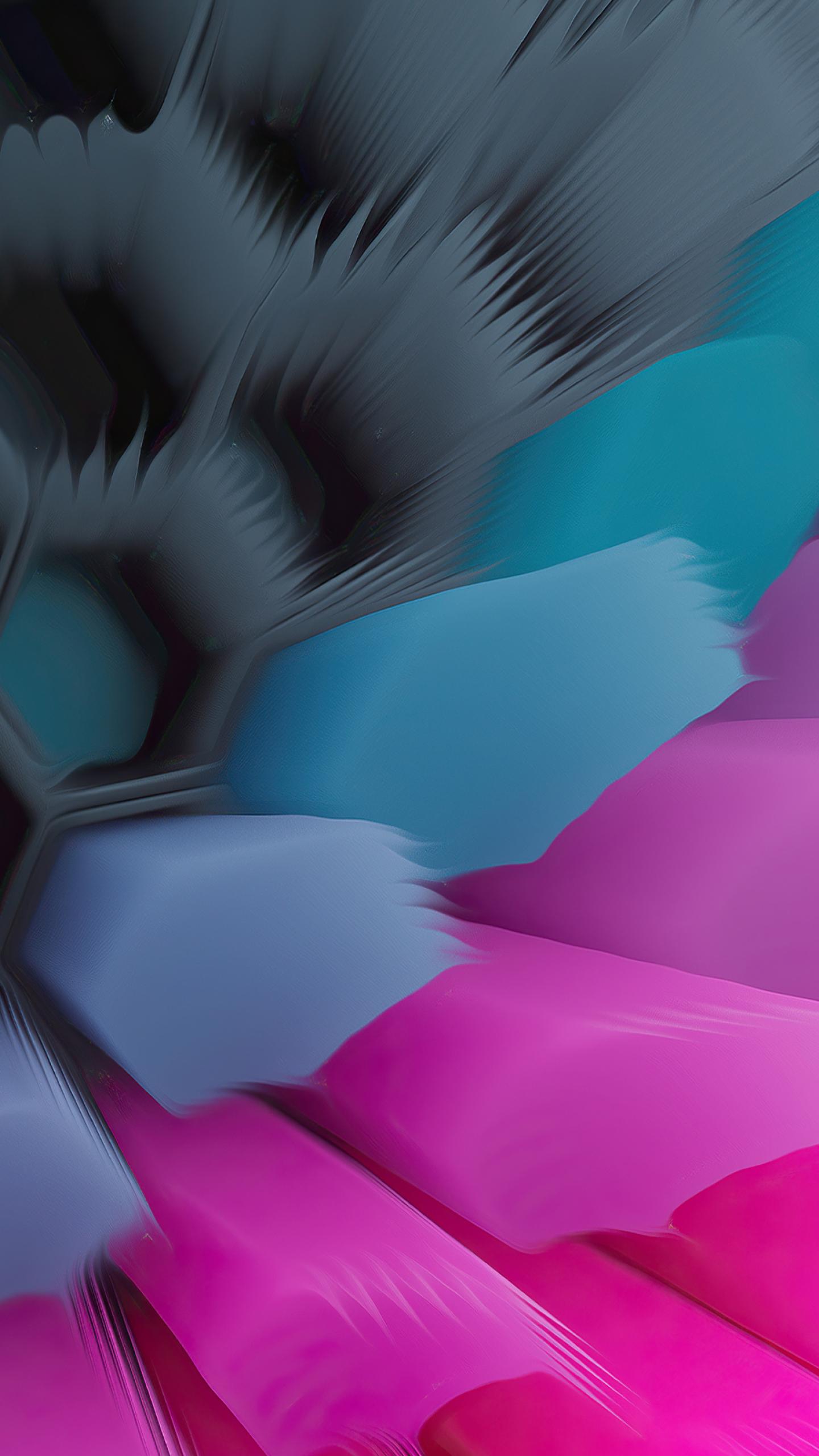 Pink Blue 4K Hexagon Wallpaper in 1440x2560 Resolution
