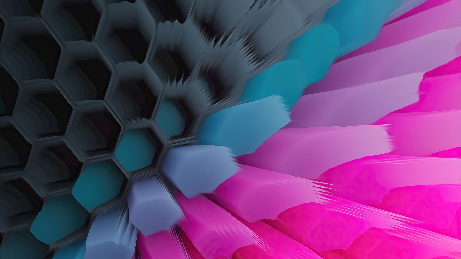 Pink Blue 4K Hexagon Wallpaper in 1920x1080 Resolution
