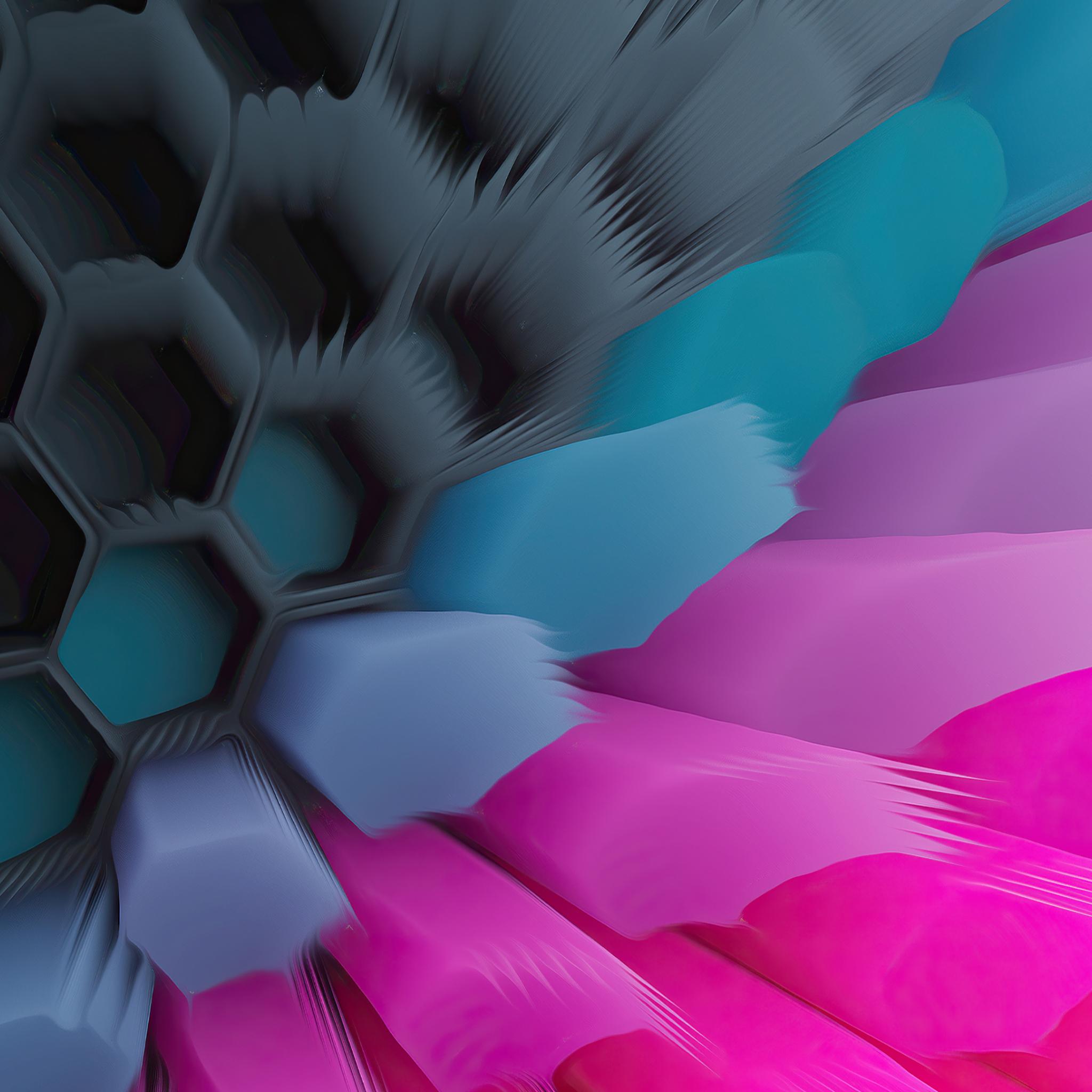 Pink Blue 4K Hexagon Wallpaper in 2048x2048 Resolution