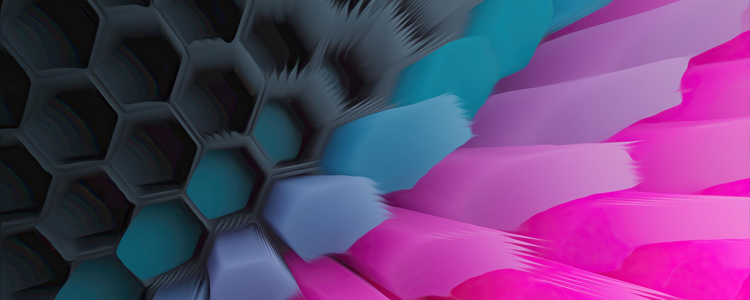 Pink Blue 4K Hexagon Wallpaper in 2560x1024 Resolution
