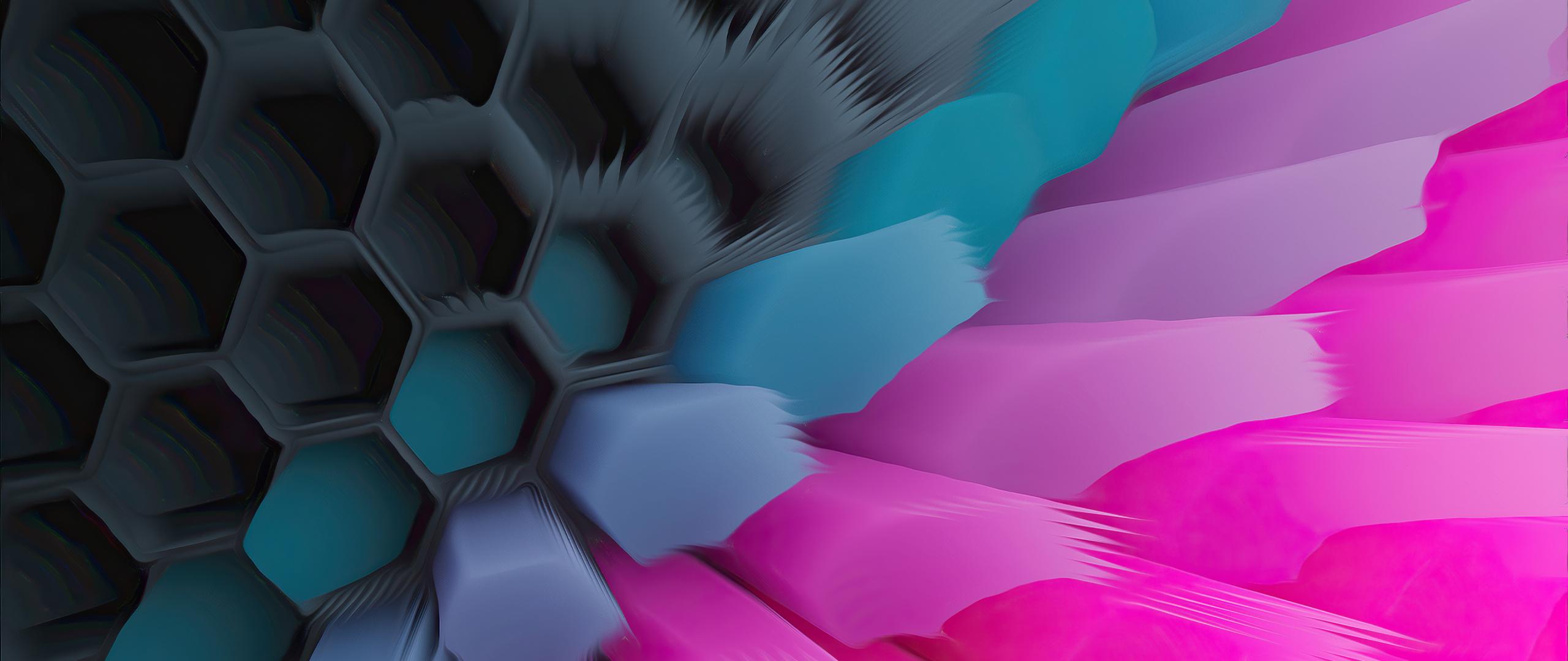 Pink Blue 4K Hexagon Wallpaper in 2560x1080 Resolution