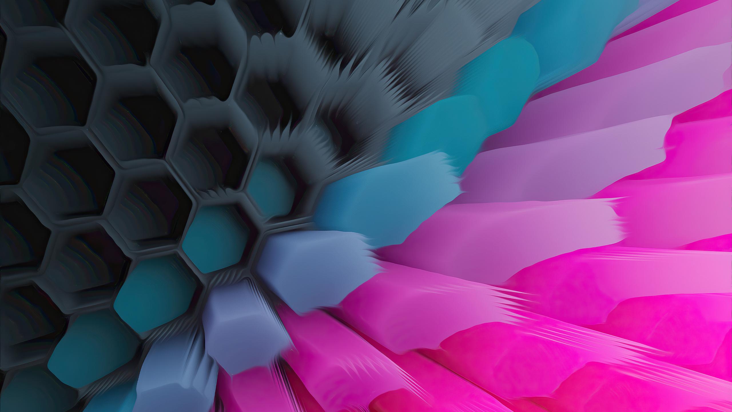 Pink Blue 4K Hexagon Wallpaper in 2560x1440 Resolution