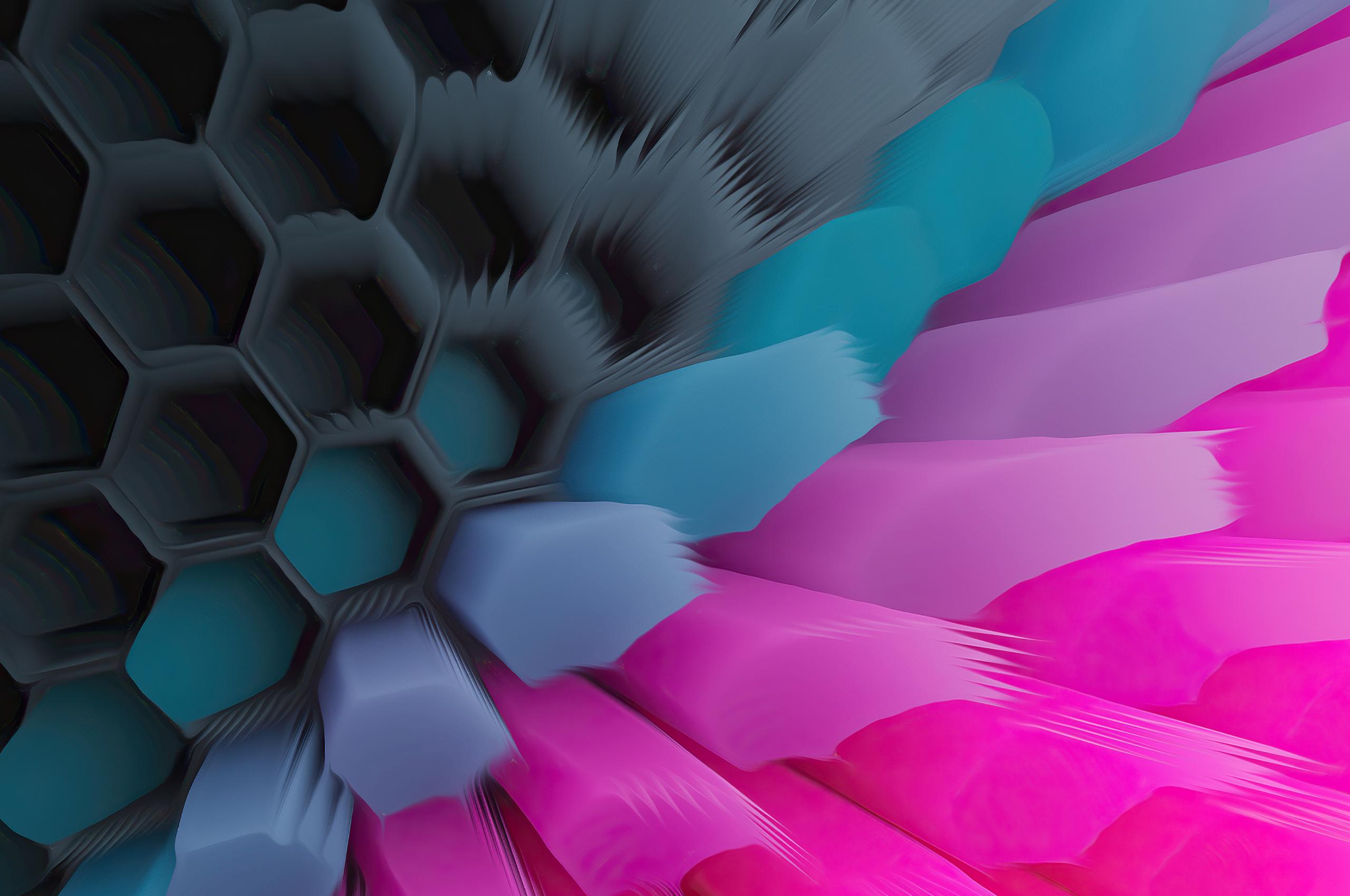 Pink Blue 4K Hexagon Wallpaper in 2560x1700 Resolution