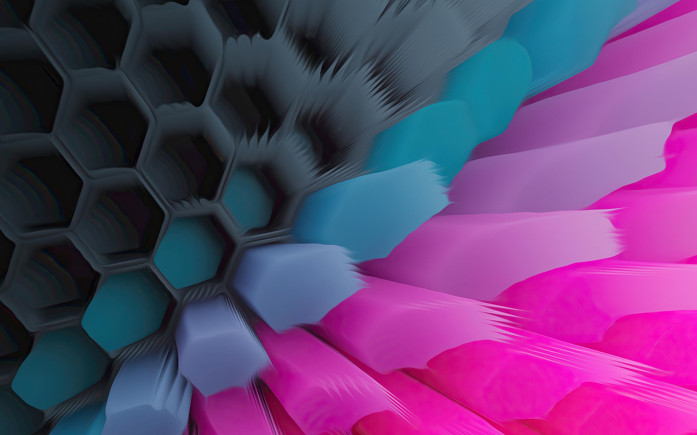 Pink Blue 4K Hexagon Wallpaper in 2880x1800 Resolution