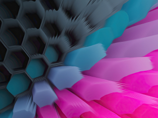 Pink Blue 4K Hexagon Wallpaper in 320x240 Resolution