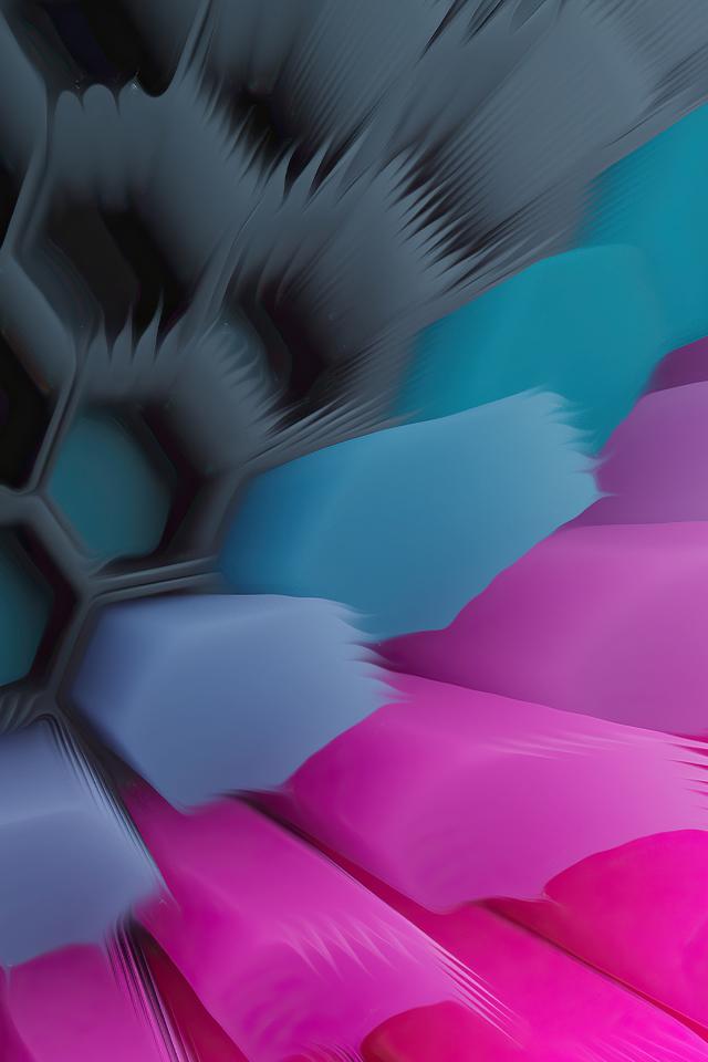 Pink Blue 4K Hexagon Wallpaper in 640x960 Resolution