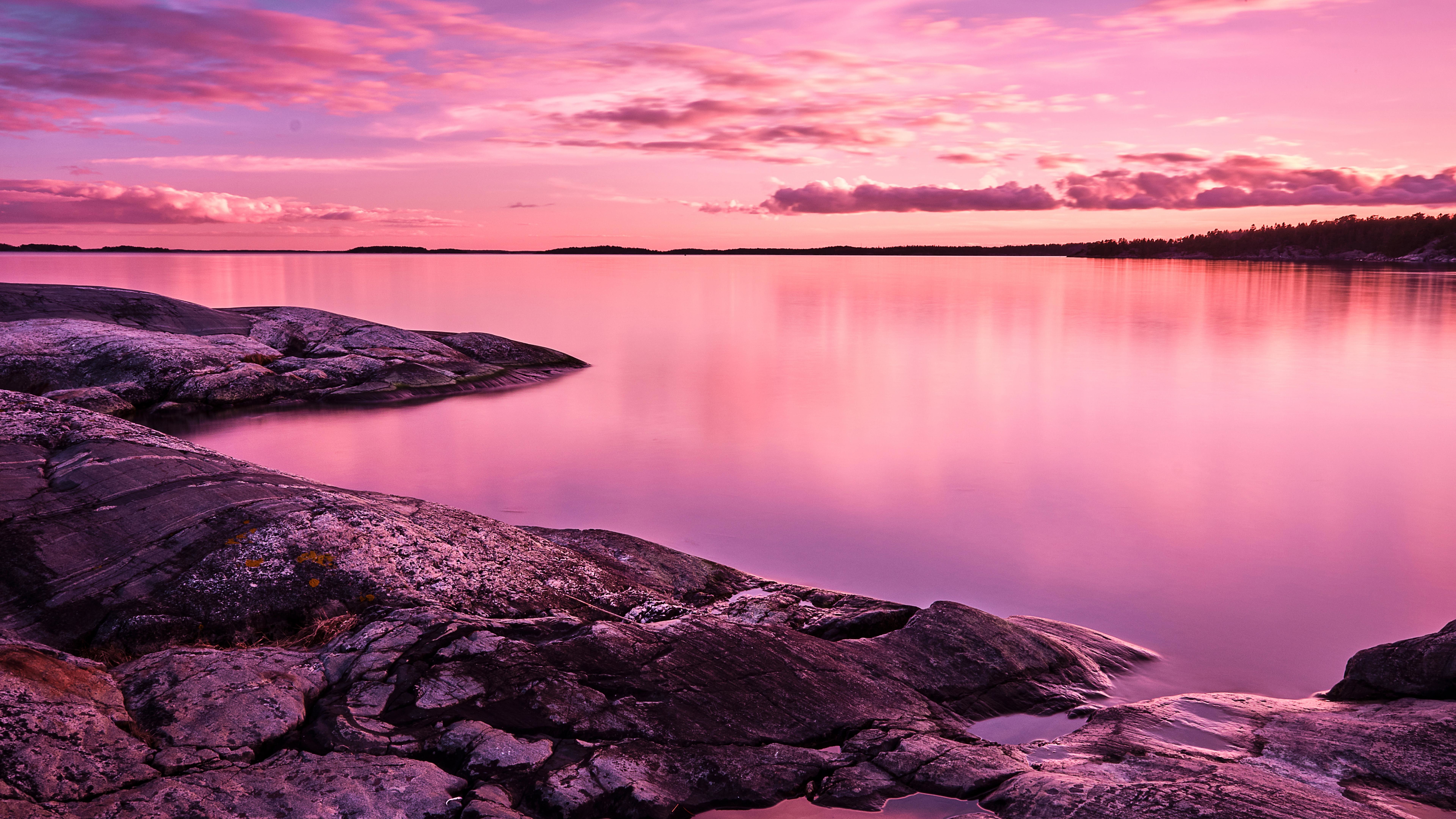 Pink Lake 8k Wallpaper Hd Nature 4k