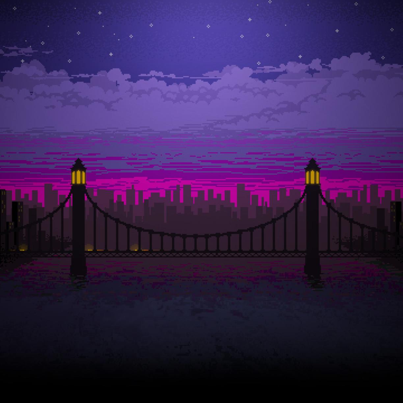 Pixel Art Bridge Night, Full HD Wallpaper