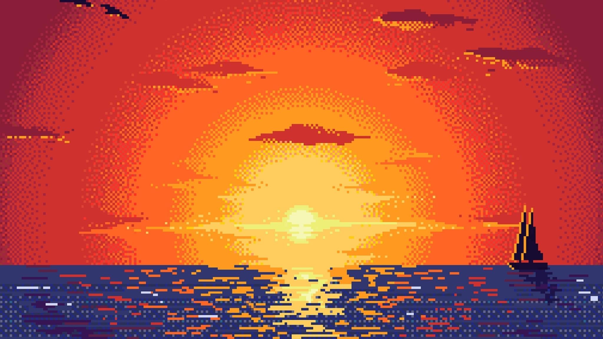 2048x1152 Pixel Sunset Digital Art 2048x1152 Resolution