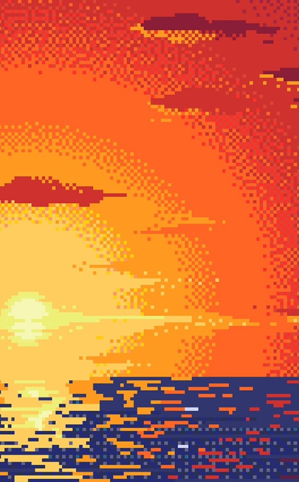 Pixel Sunset Digital Art Full Hd Wallpaper